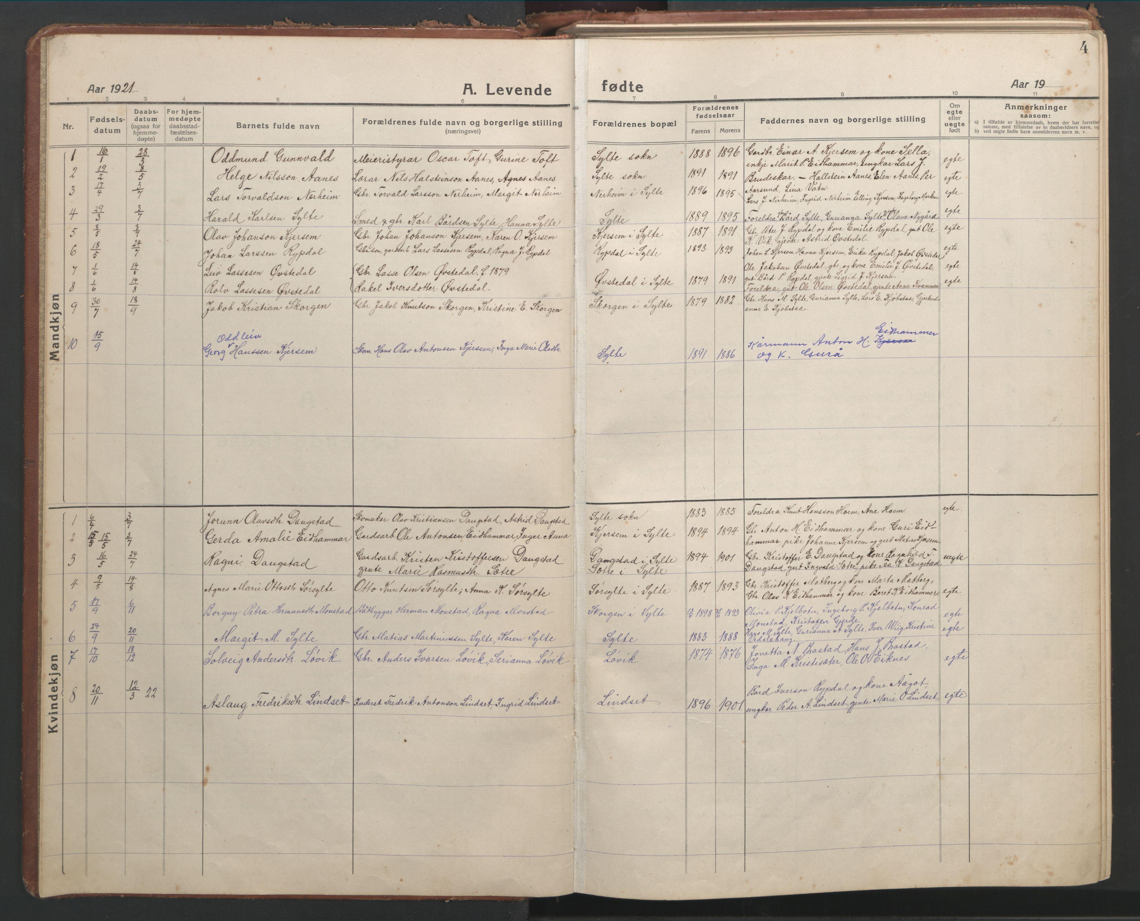 SAT, Ministerialprotokoller, klokkerbøker og fødselsregistre - Møre og Romsdal, 541/L0548: Parish register (copy) no. 541C03, 1921-1960, p. 4