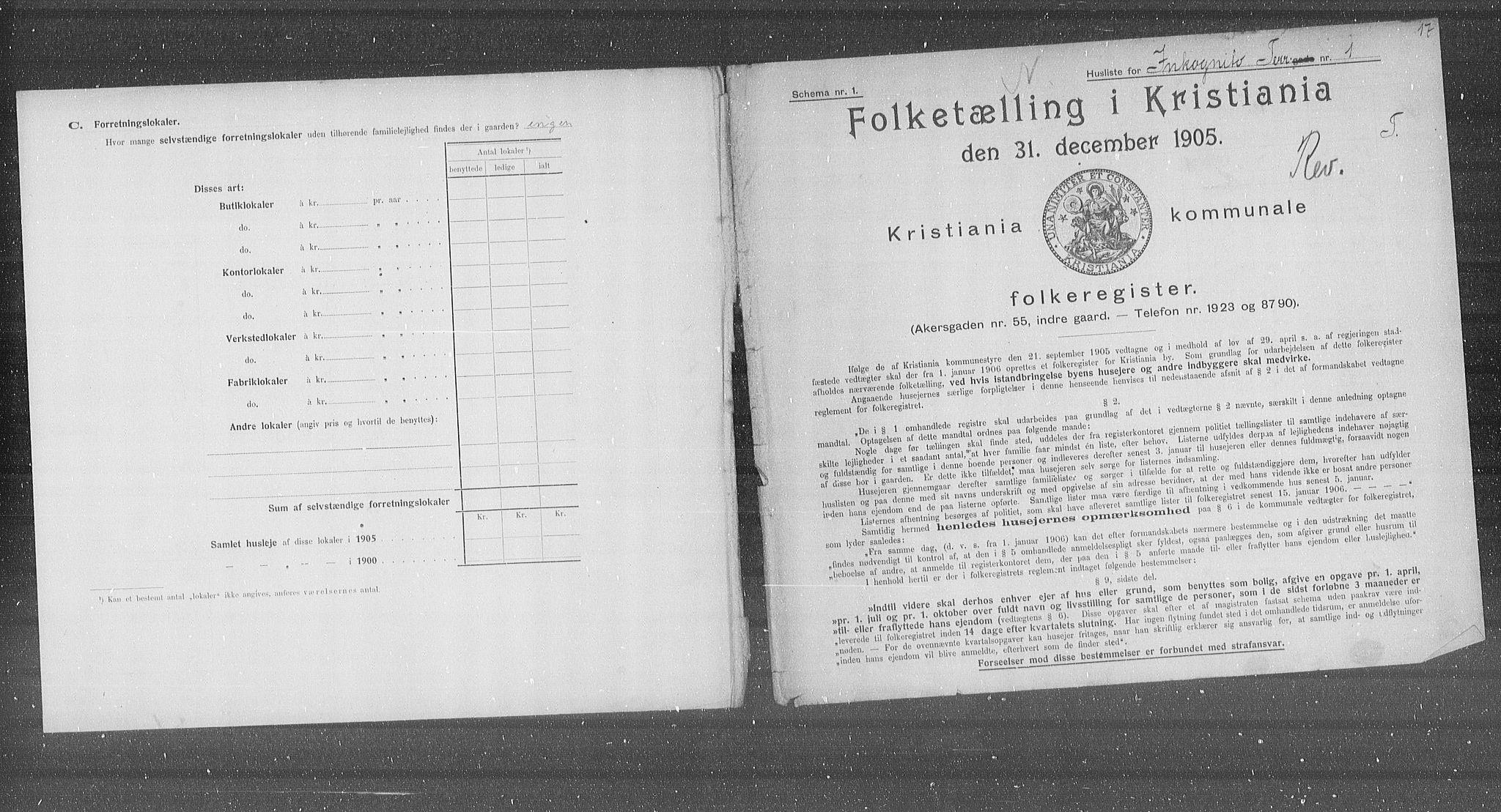 OBA, Municipal Census 1905 for Kristiania, 1905, p. 23176