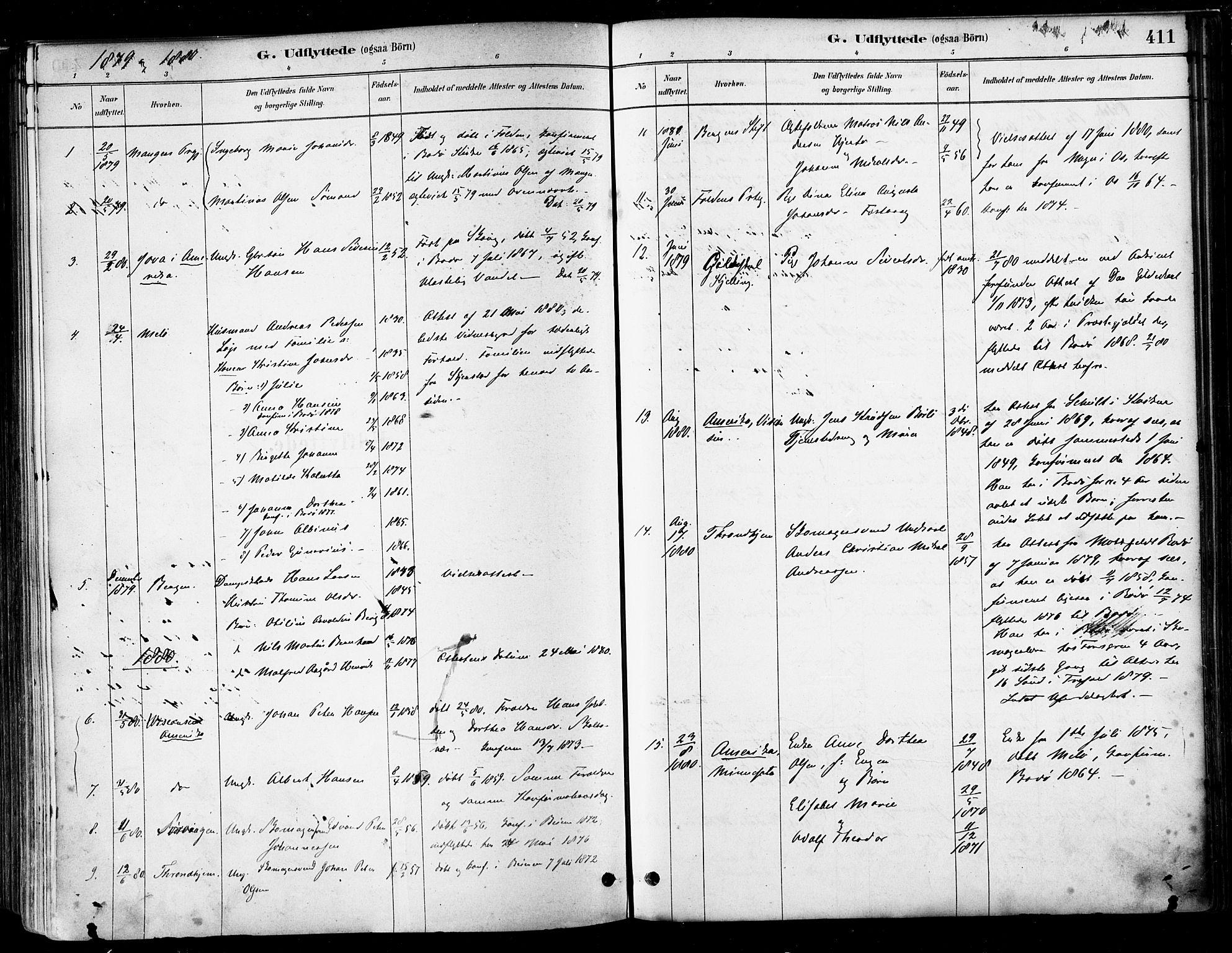 SAT, Ministerialprotokoller, klokkerbøker og fødselsregistre - Nordland, 802/L0054: Parish register (official) no. 802A01, 1879-1893, p. 411