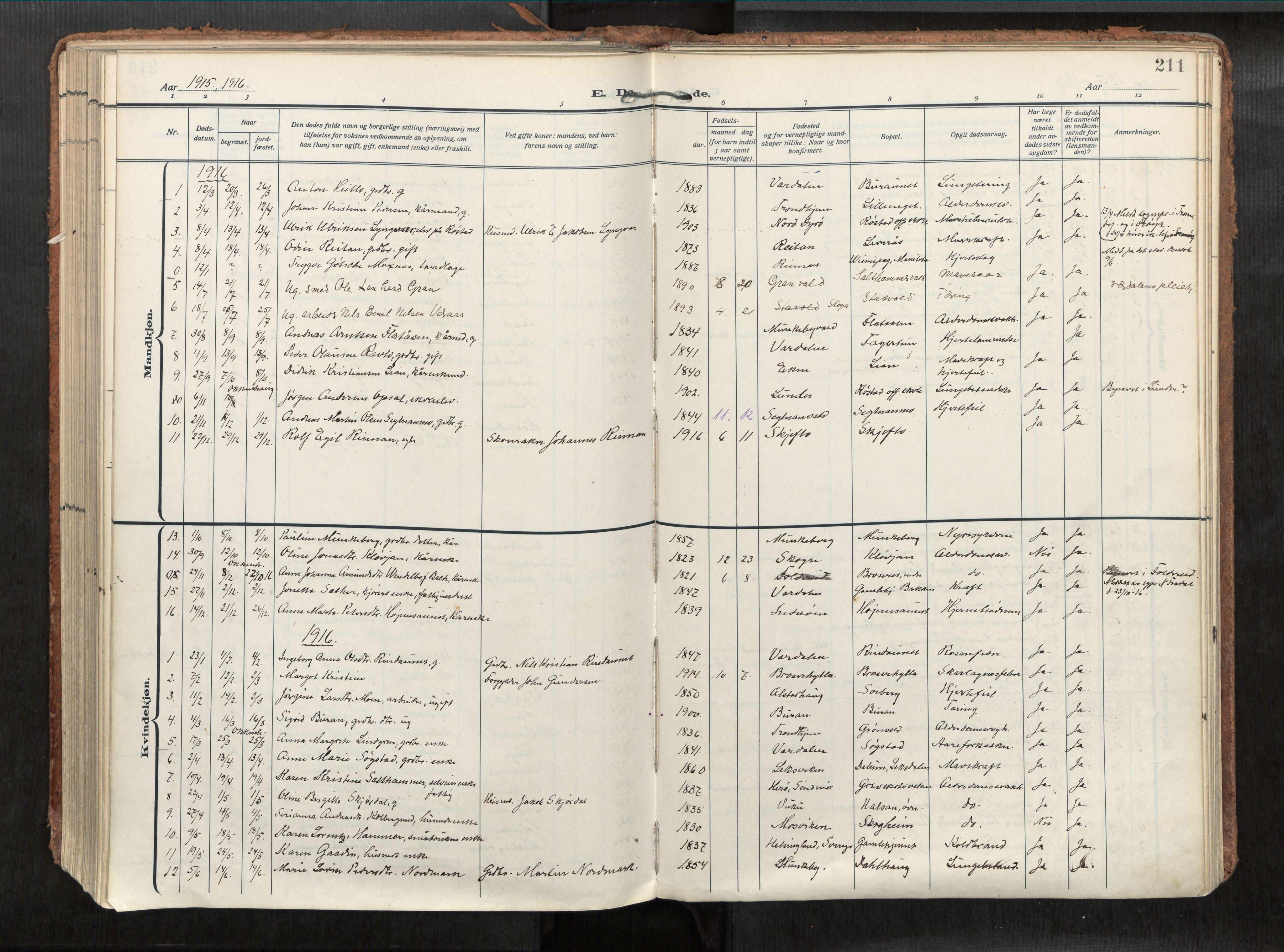 SAT, Levanger sokneprestkontor*, Parish register (official) no. 1, 1912-1935, p. 211