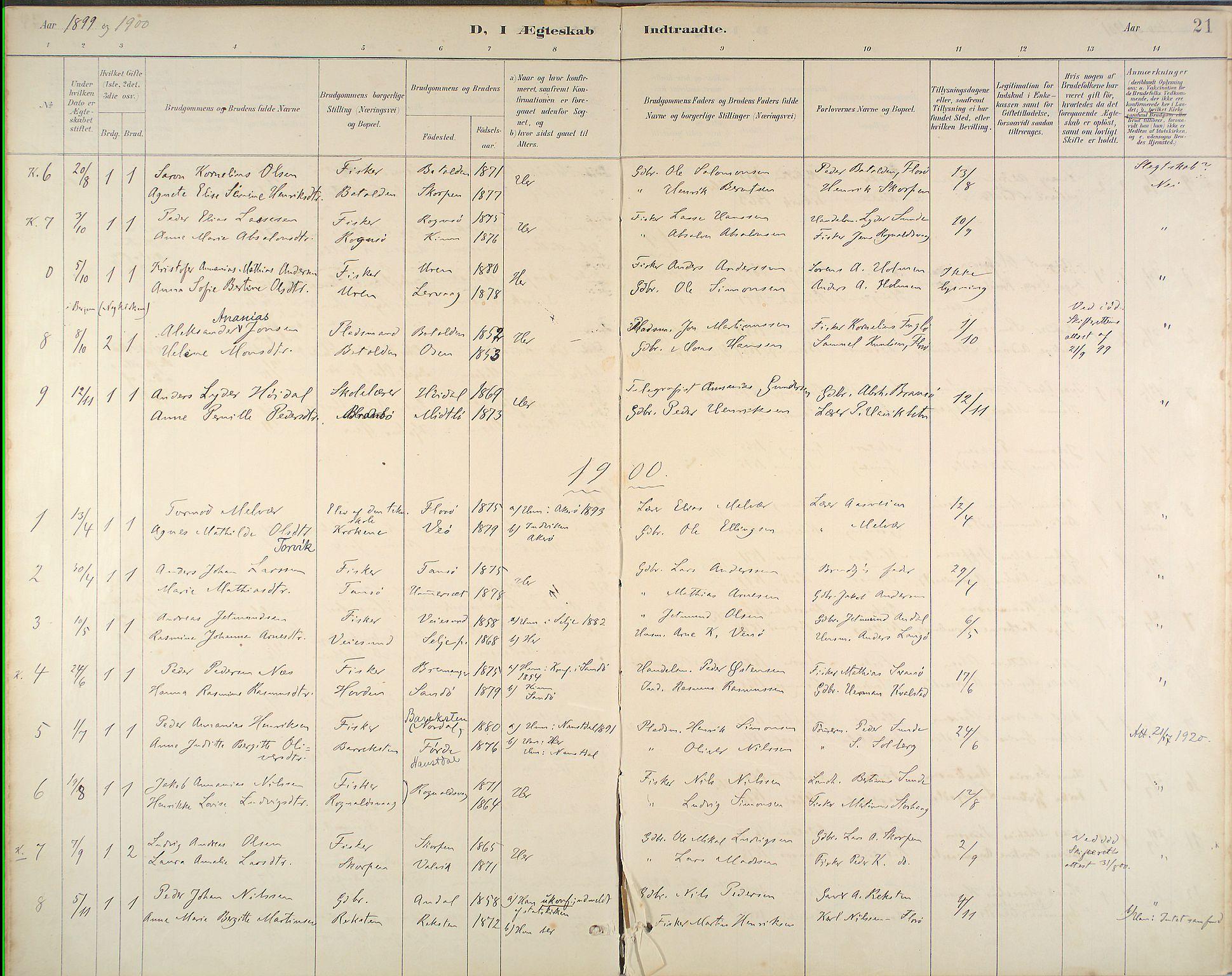 Kinn Sokneprestembete, Parish register (official) no. B 3, 1886-1936, p. 21