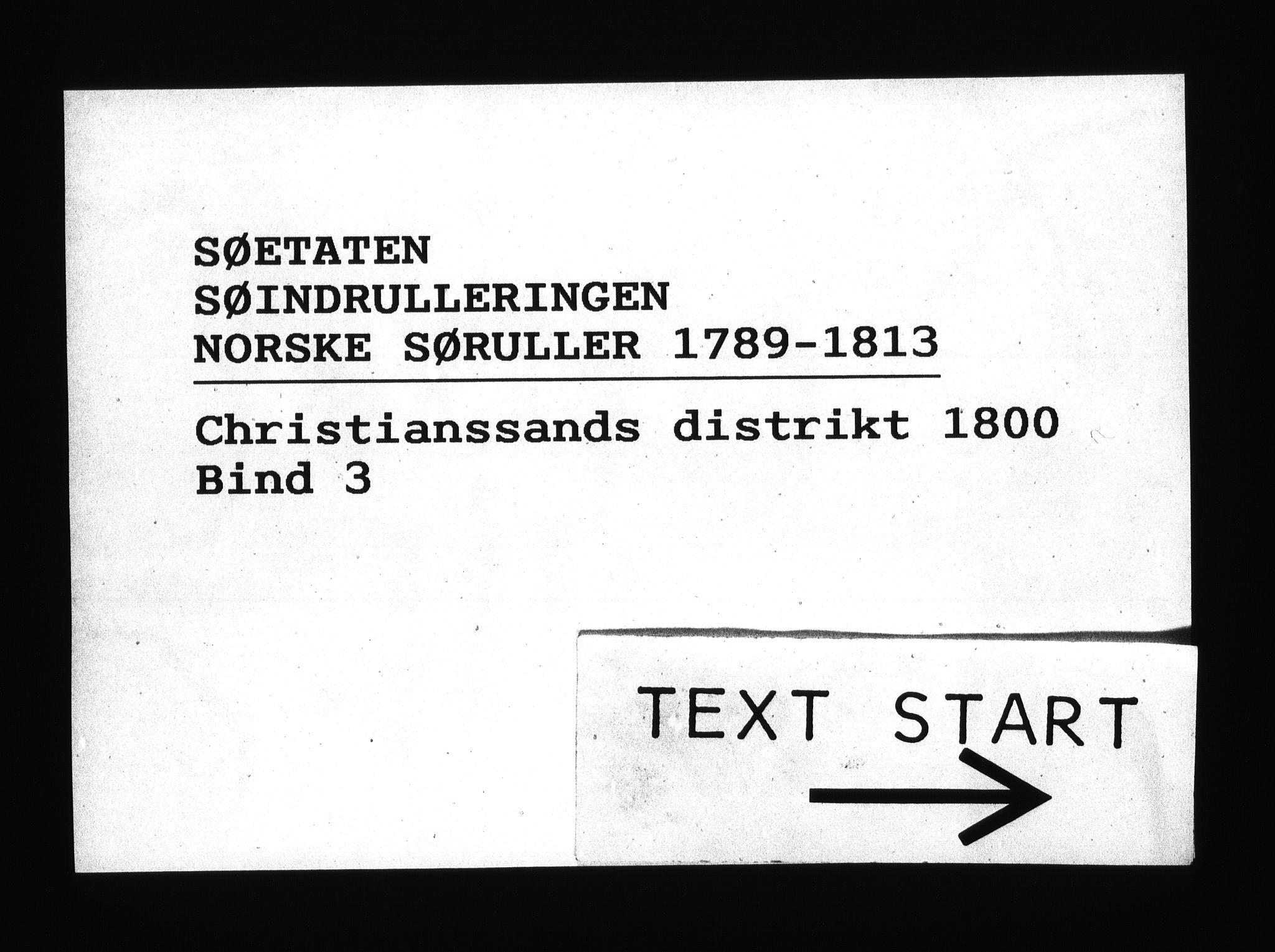 RA, Sjøetaten, F/L0038: Kristiansand distrikt, bind 3, 1800