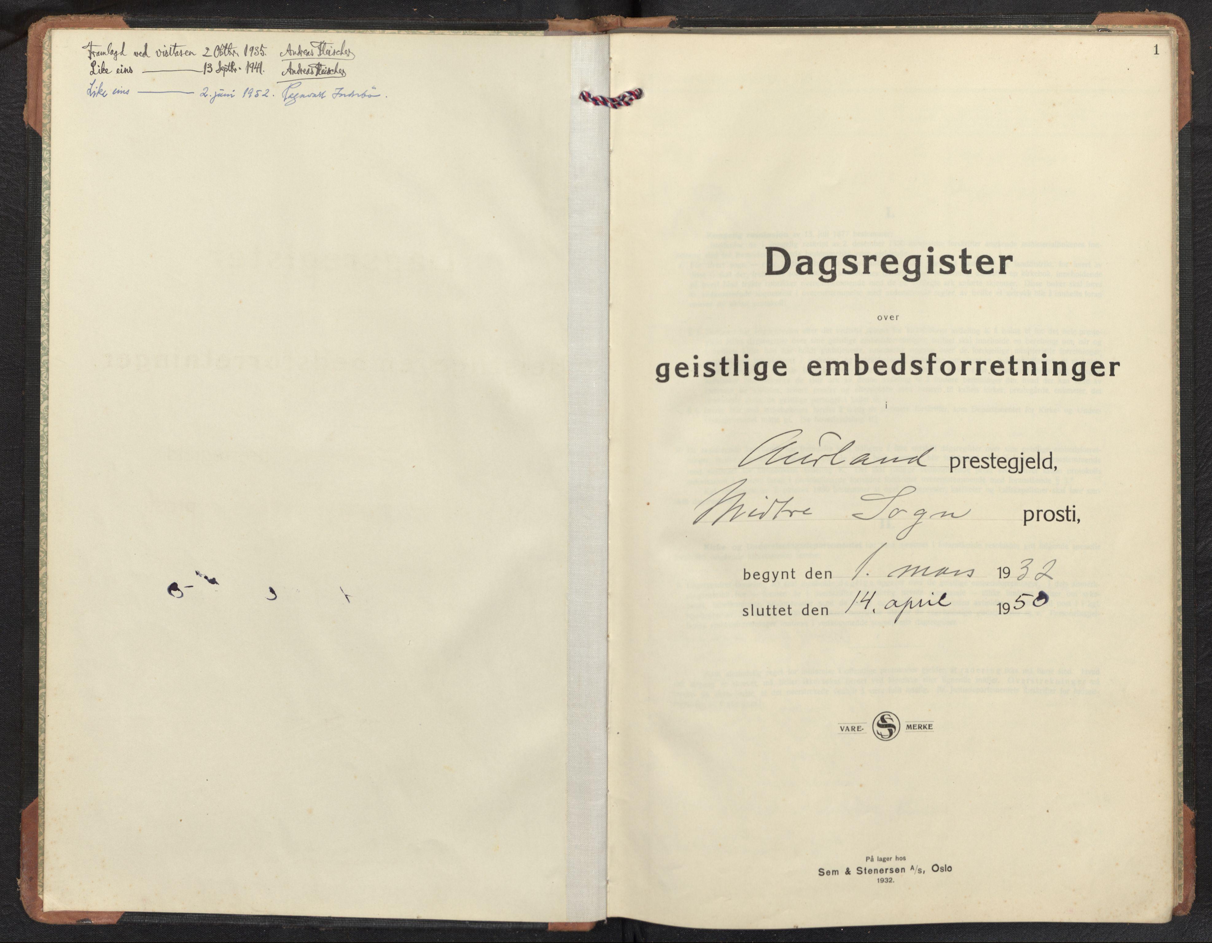 SAB, Aurland Sokneprestembete*, Diary records no. F 3, 1932-1950, p. 0b-1a