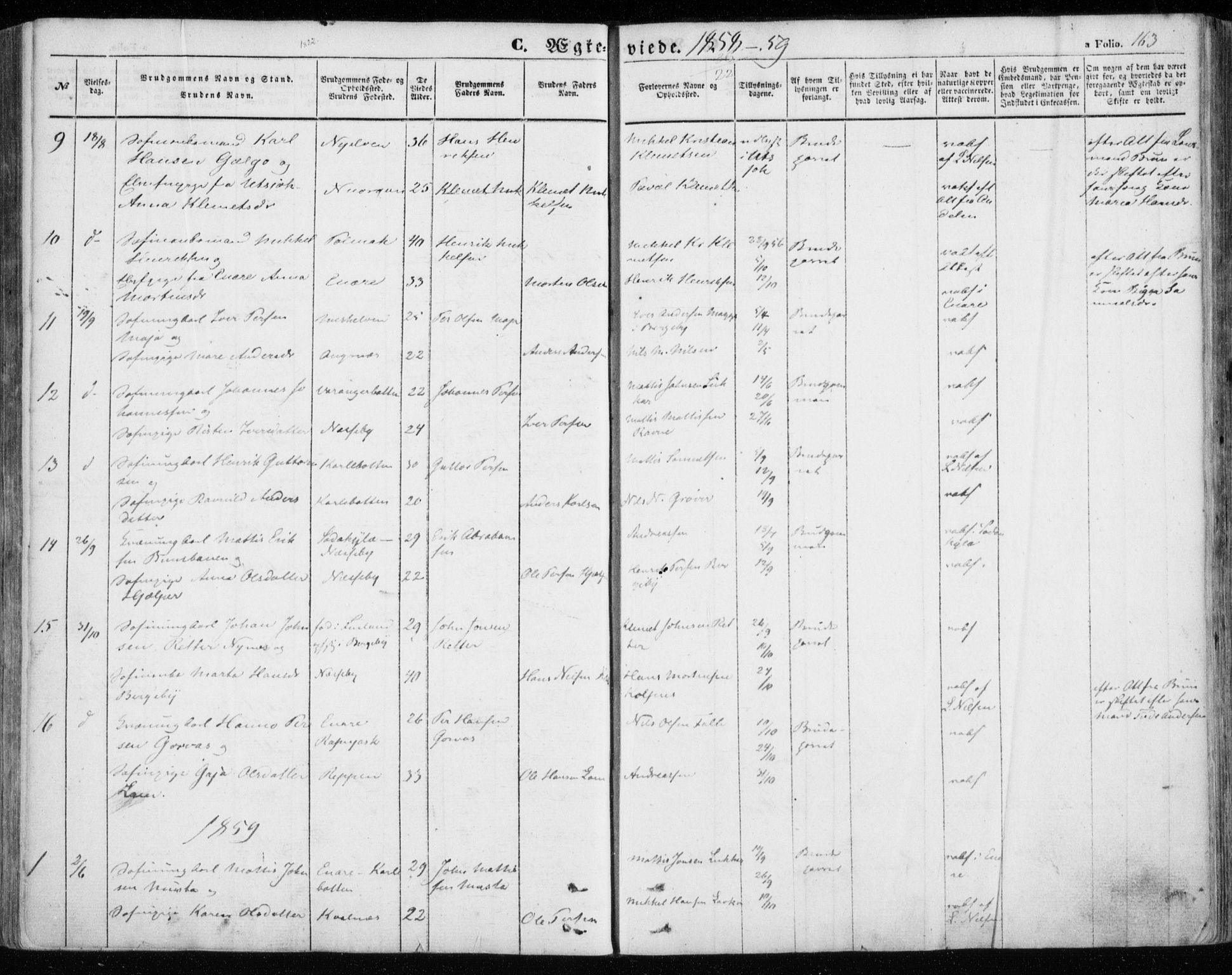 SATØ, Nesseby sokneprestkontor, H/Ha/L0002kirke: Parish register (official) no. 2, 1856-1864, p. 163