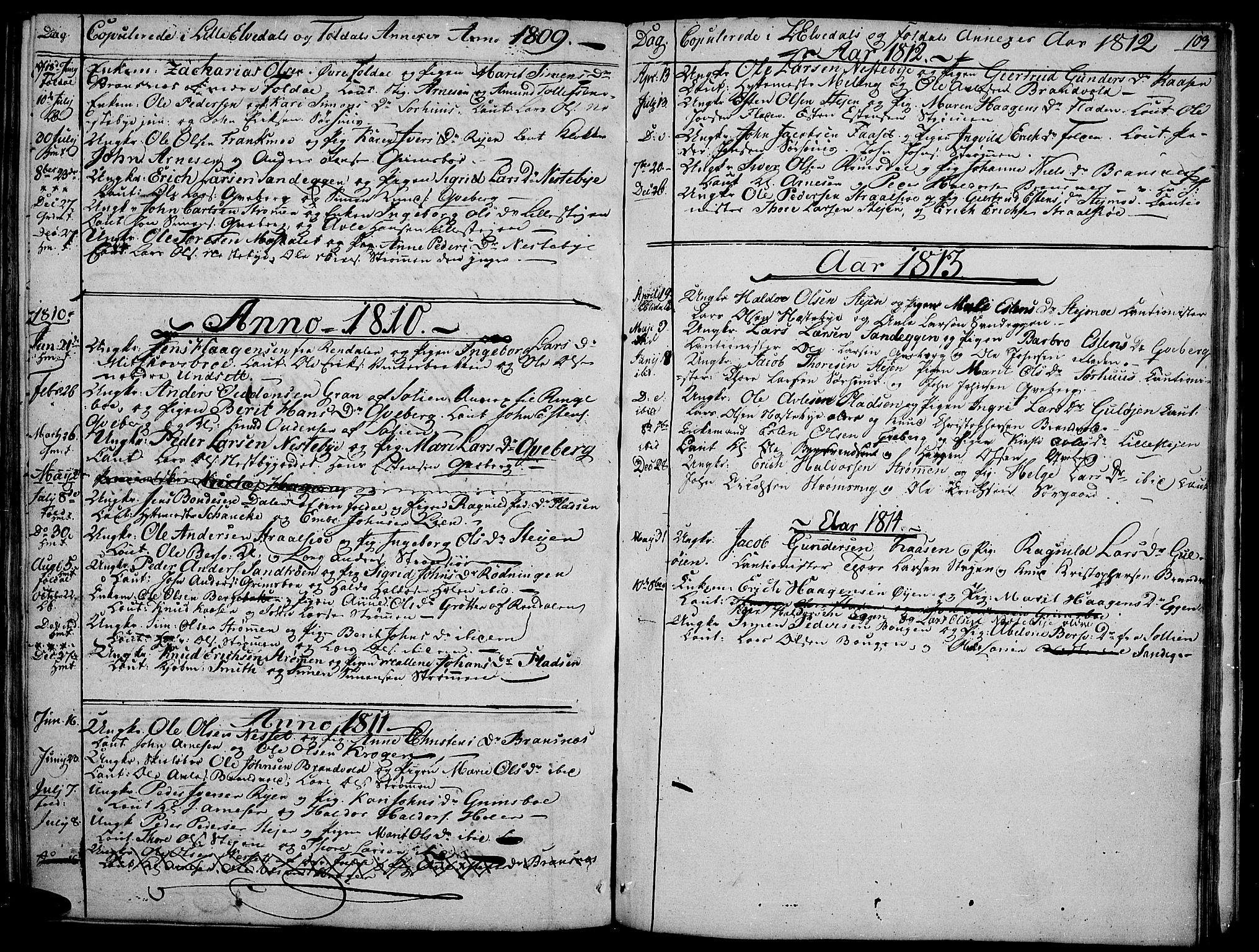 SAH, Tynset prestekontor, Parish register (official) no. 16, 1801-1814, p. 103