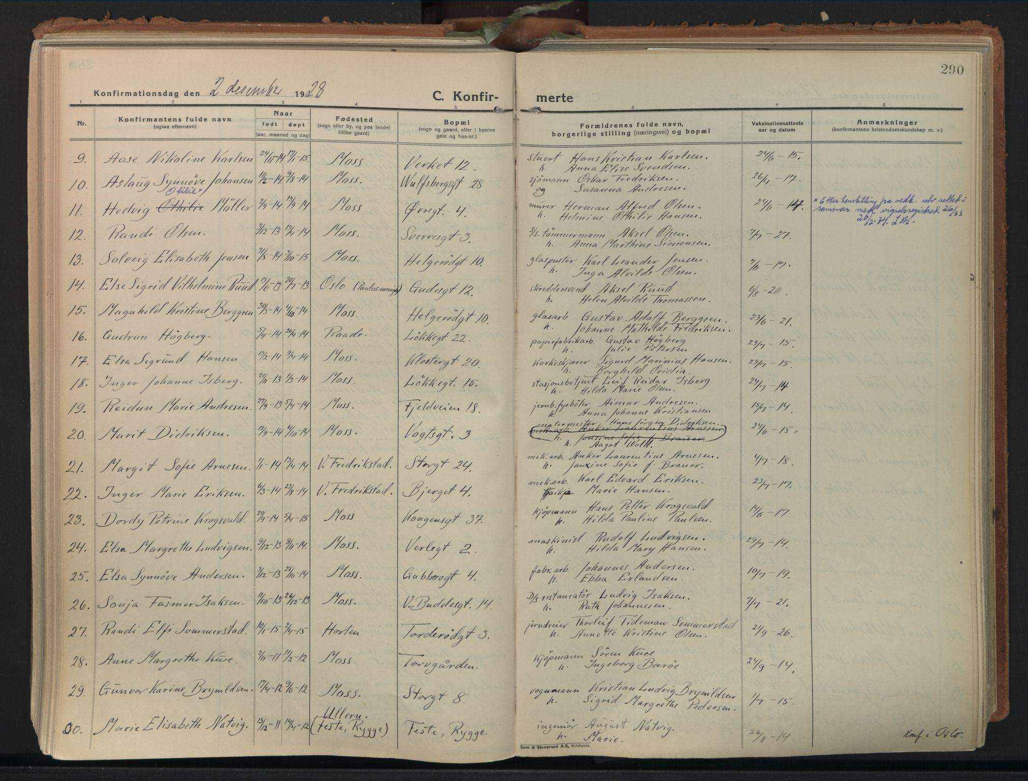 SAO, Moss prestekontor Kirkebøker, F/Fb/Fab/L0006: Parish register (official) no. II 6, 1924-1932, p. 290