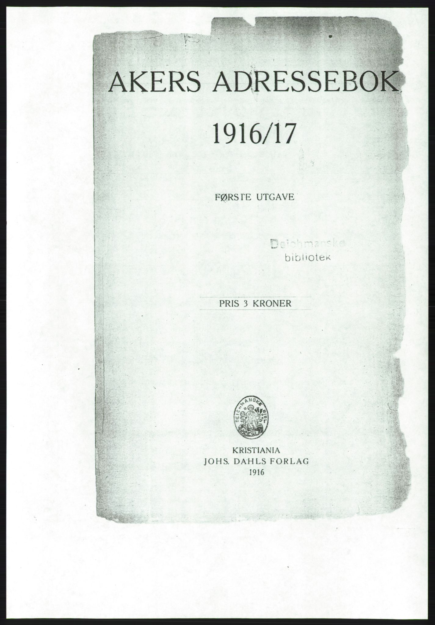 RA, Aker adressebok/adressekalender (publikasjon)*, 1916-1917