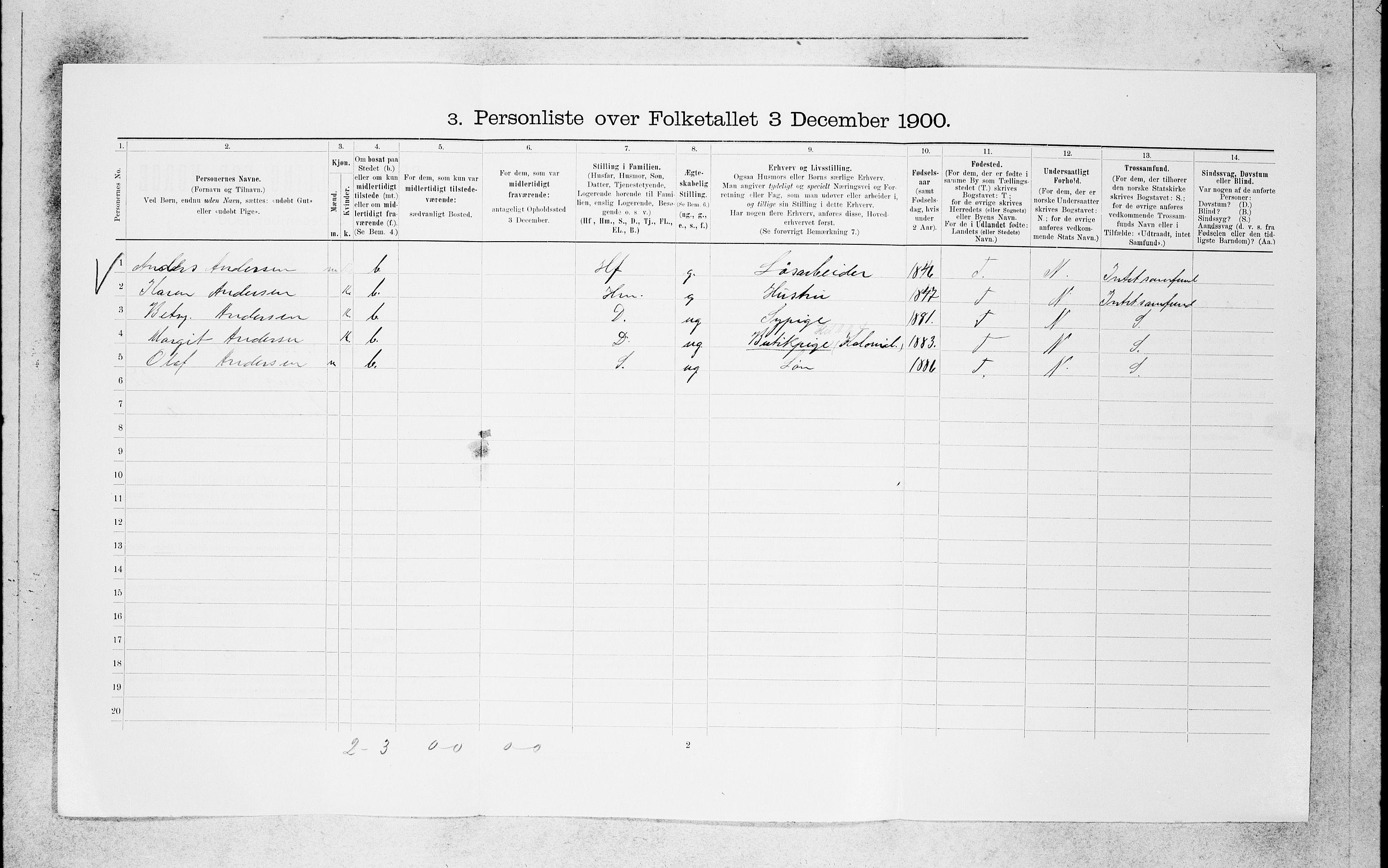SAB, 1900 census for Bergen, 1900, p. 5669