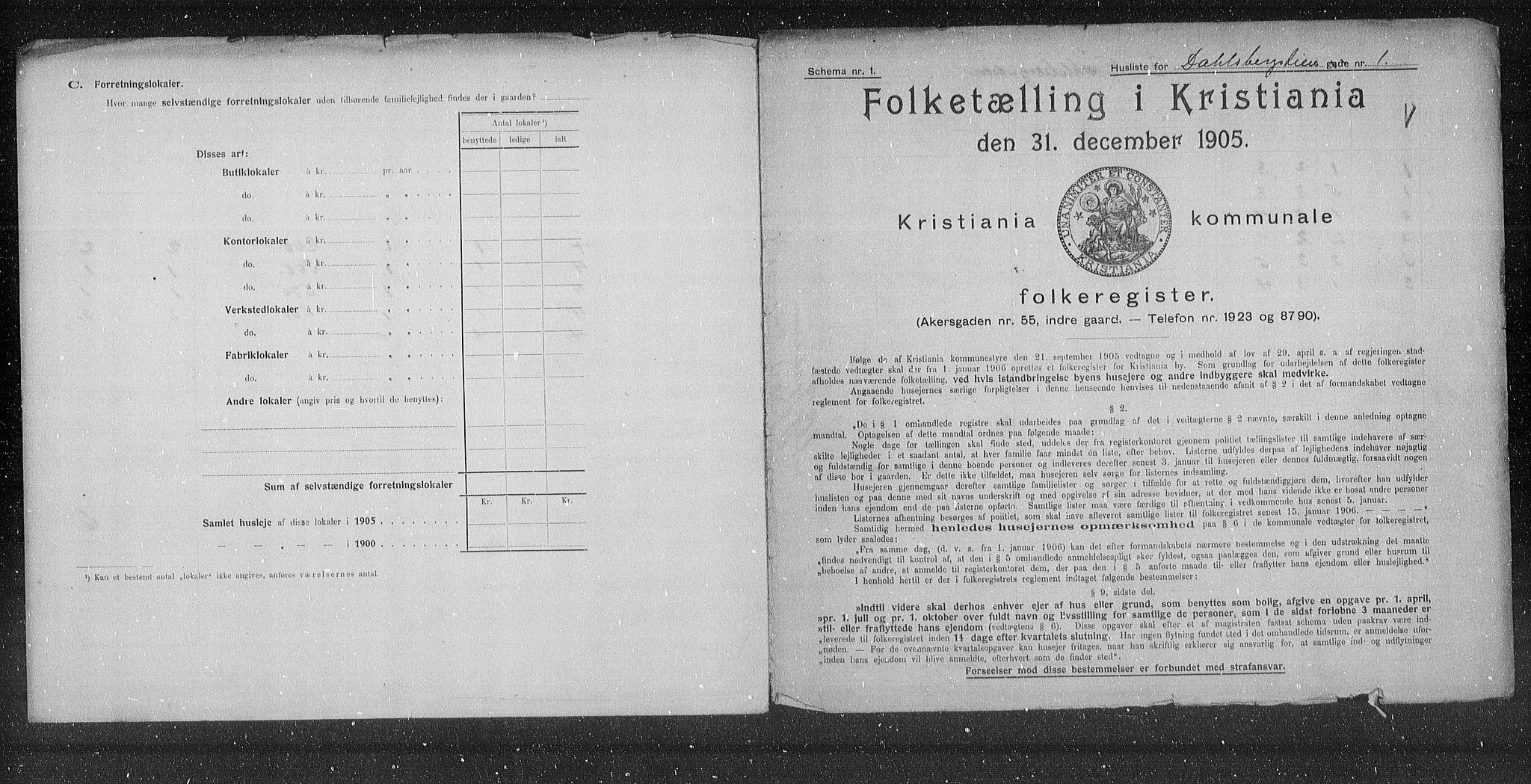 OBA, Municipal Census 1905 for Kristiania, 1905, p. 7275