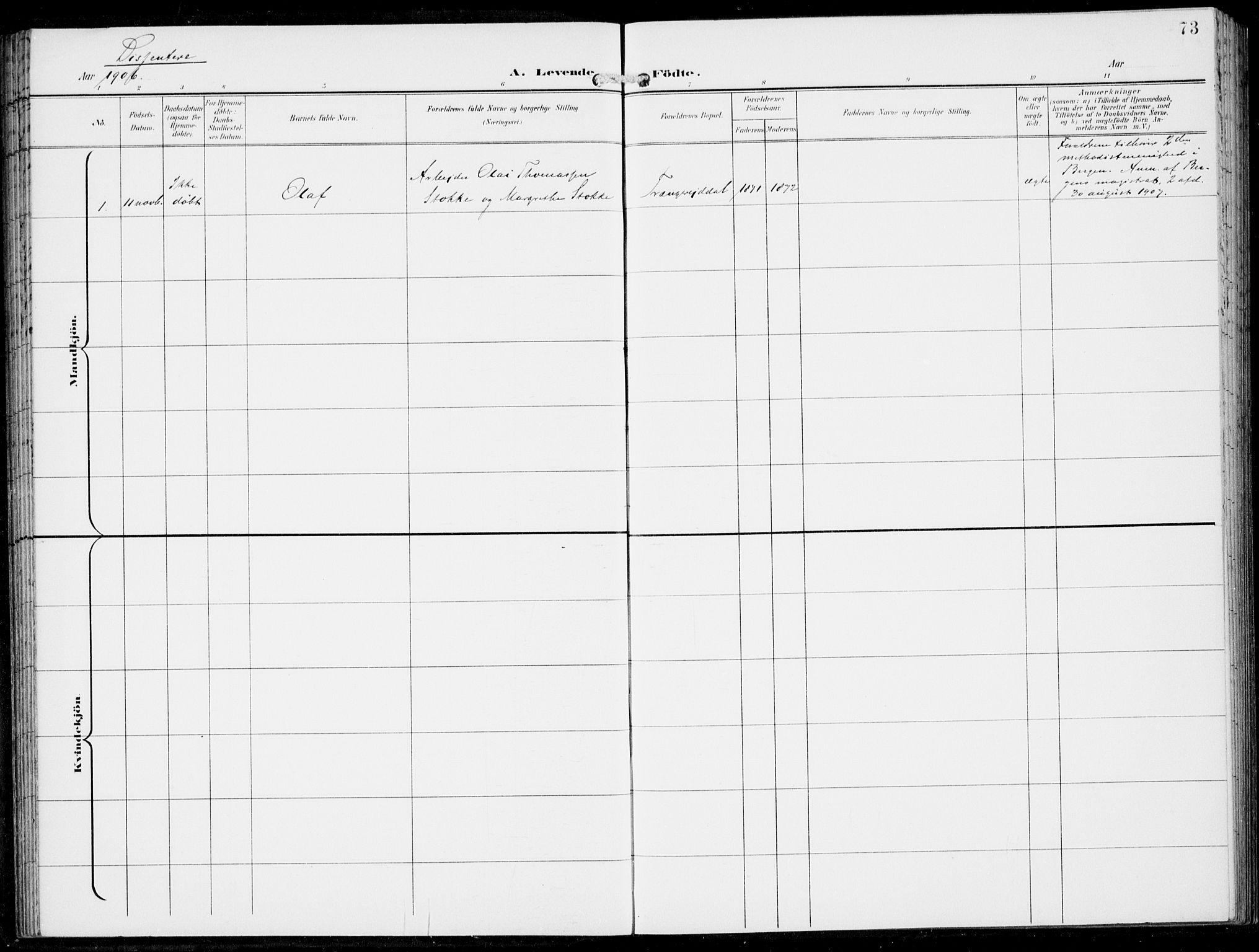 SAB, Haus sokneprestembete, H/Haa: Parish register (official) no. B  2, 1899-1912, p. 73