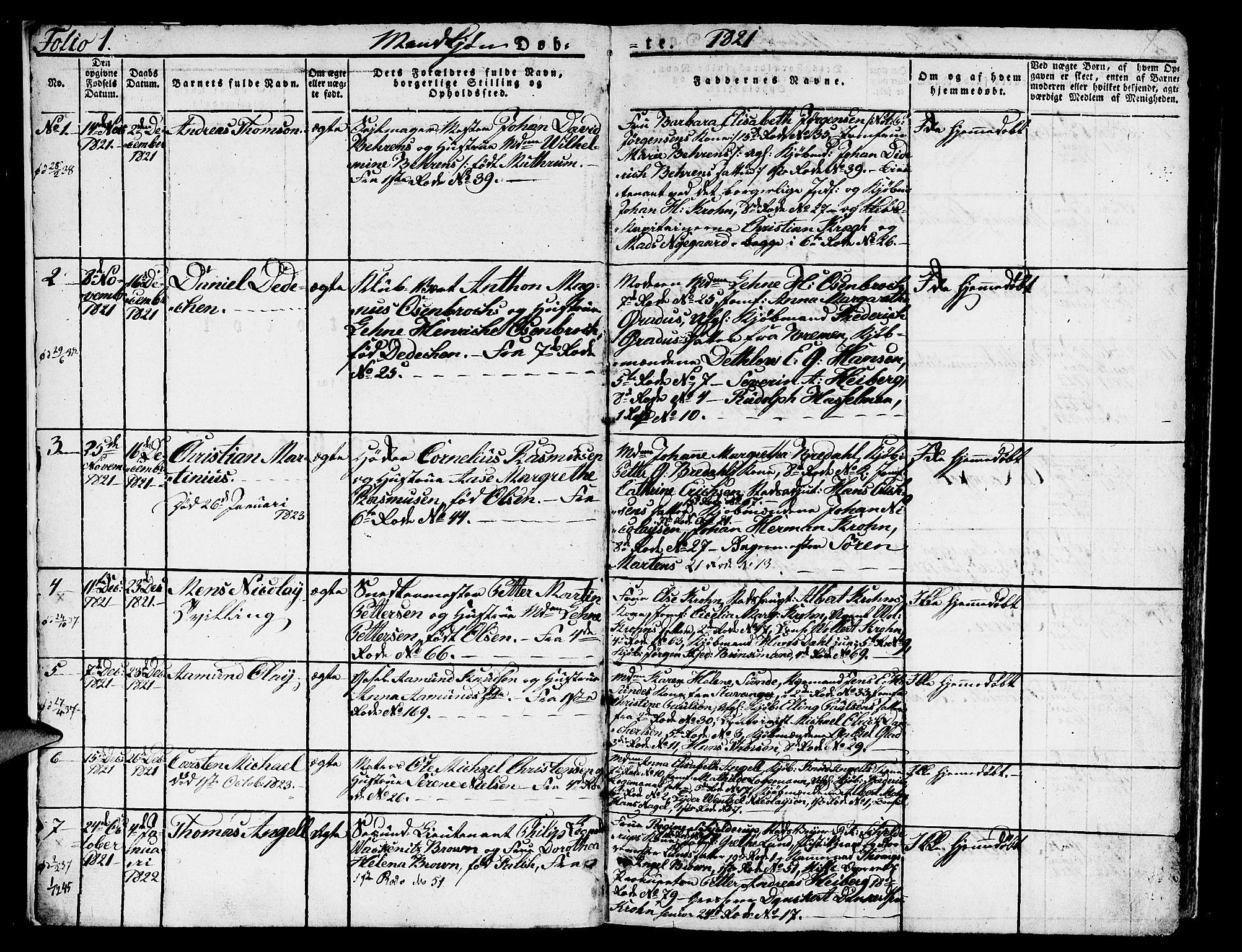 SAB, Nykirken Sokneprestembete, H/Hab: Parish register (copy) no. A 5I, 1821-1841, p. 1