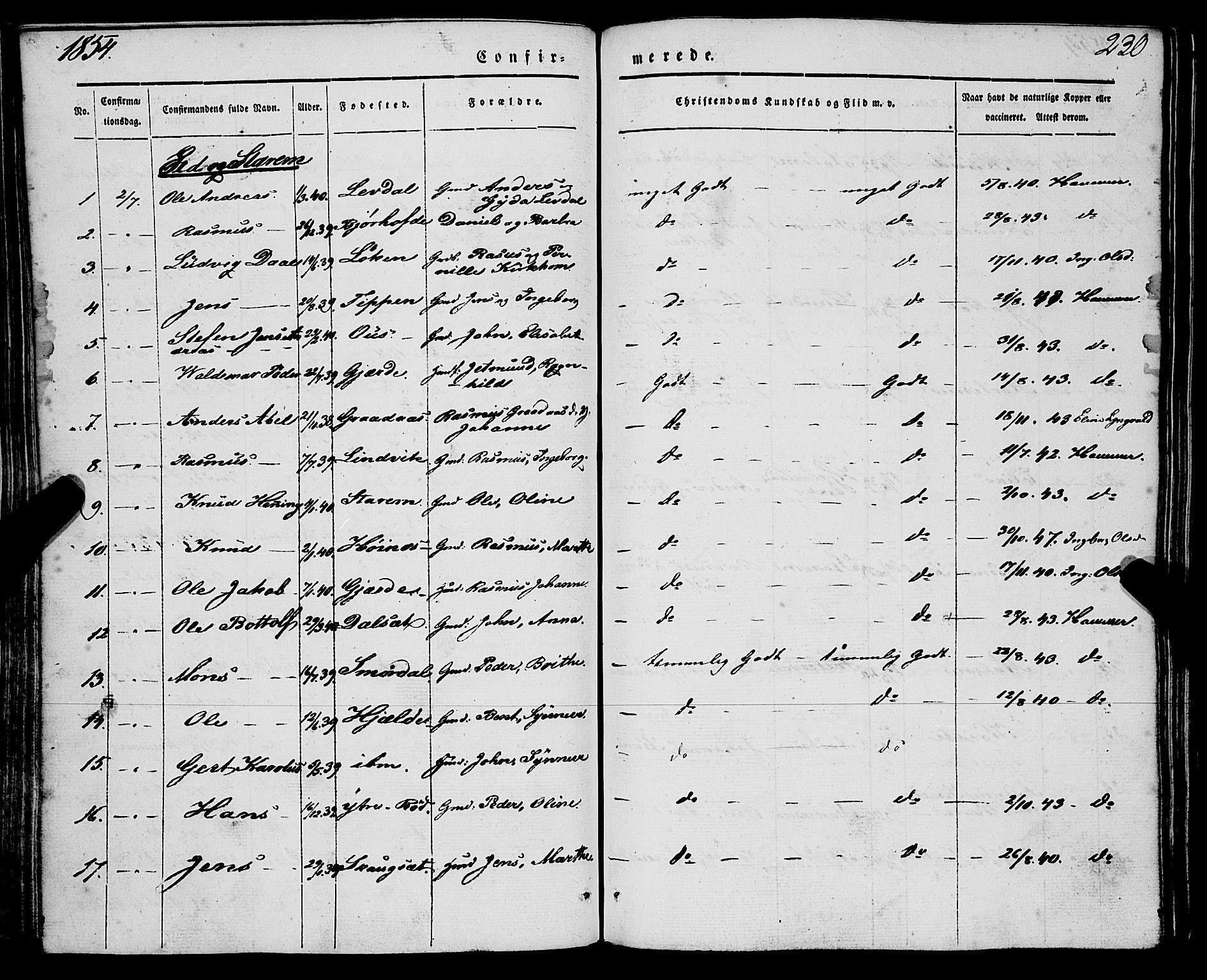 SAB, Eid Sokneprestembete, H/Haa: Parish register (official) no. A 7, 1844-1858, p. 230