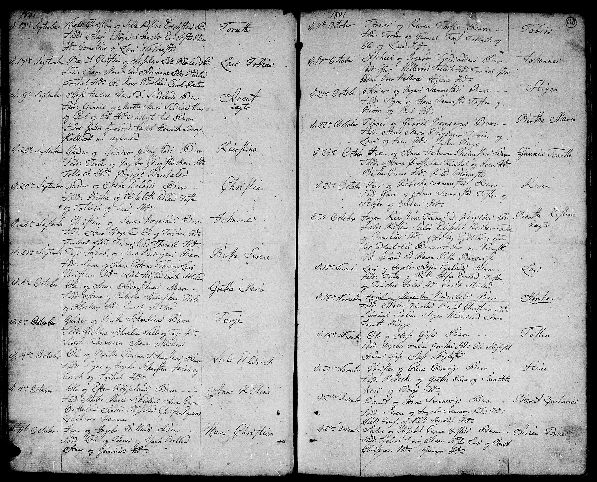 SAK, Lyngdal sokneprestkontor, F/Fa/Fac/L0004: Parish register (official) no. A 4, 1780-1815, p. 90