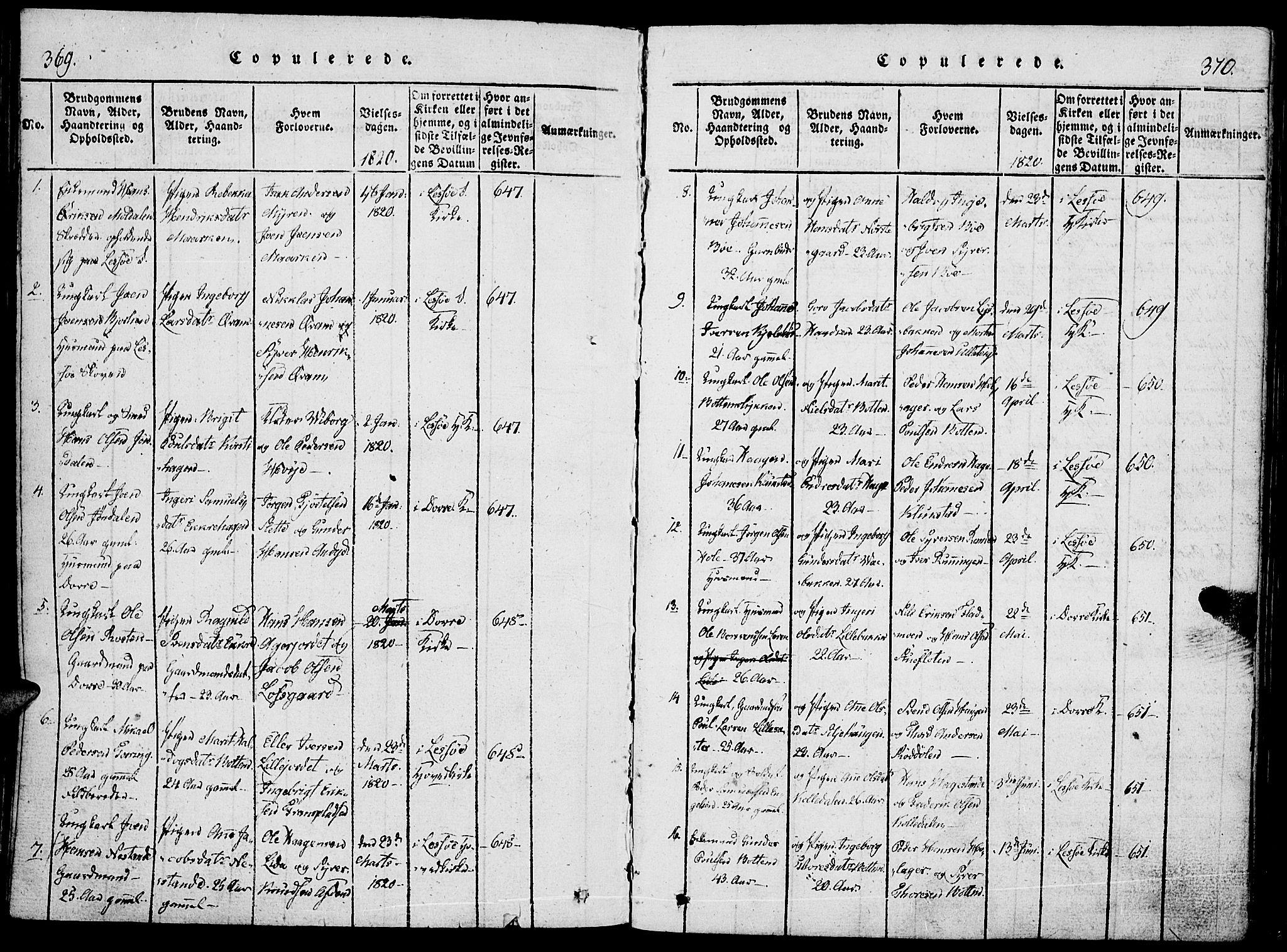 SAH, Lesja prestekontor, Parish register (official) no. 4, 1820-1829, p. 369-370