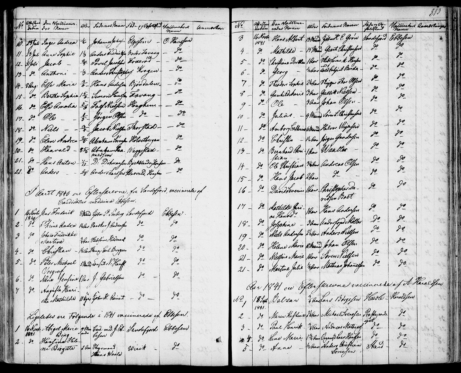 SAKO, Sandar kirkebøker, F/Fa/L0005: Parish register (official) no. 5, 1832-1847, p. 892-893