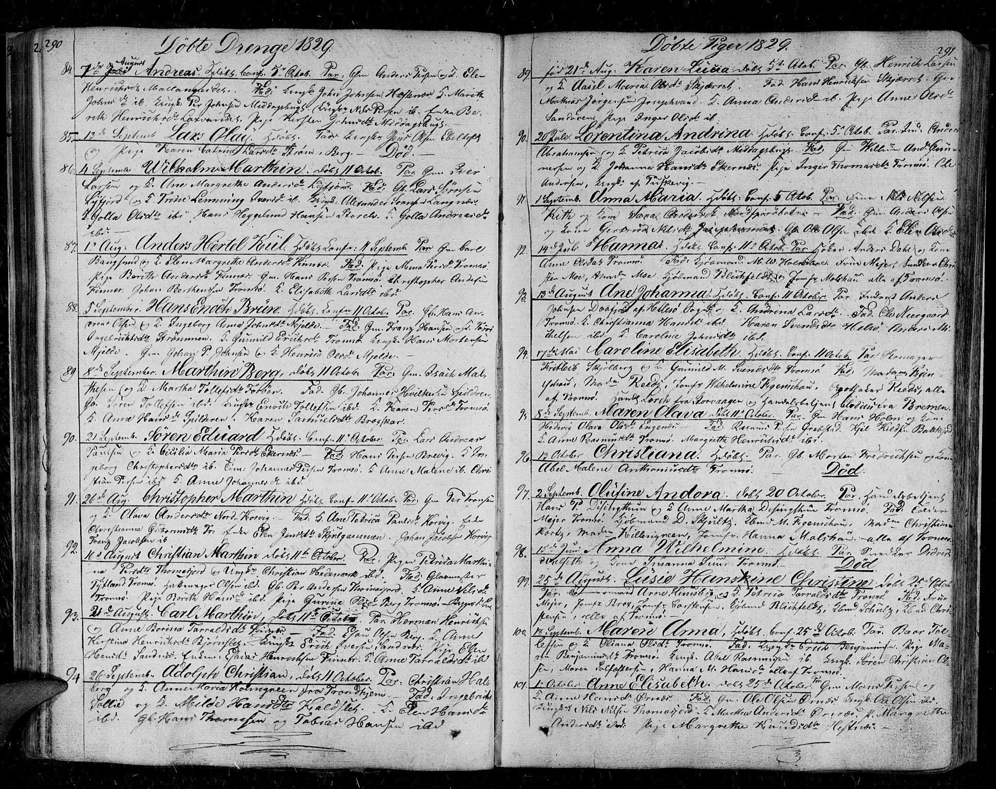SATØ, Tromsø sokneprestkontor/stiftsprosti/domprosti, G/Ga/L0008kirke: Parish register (official) no. 8, 1829-1837, p. 290-291