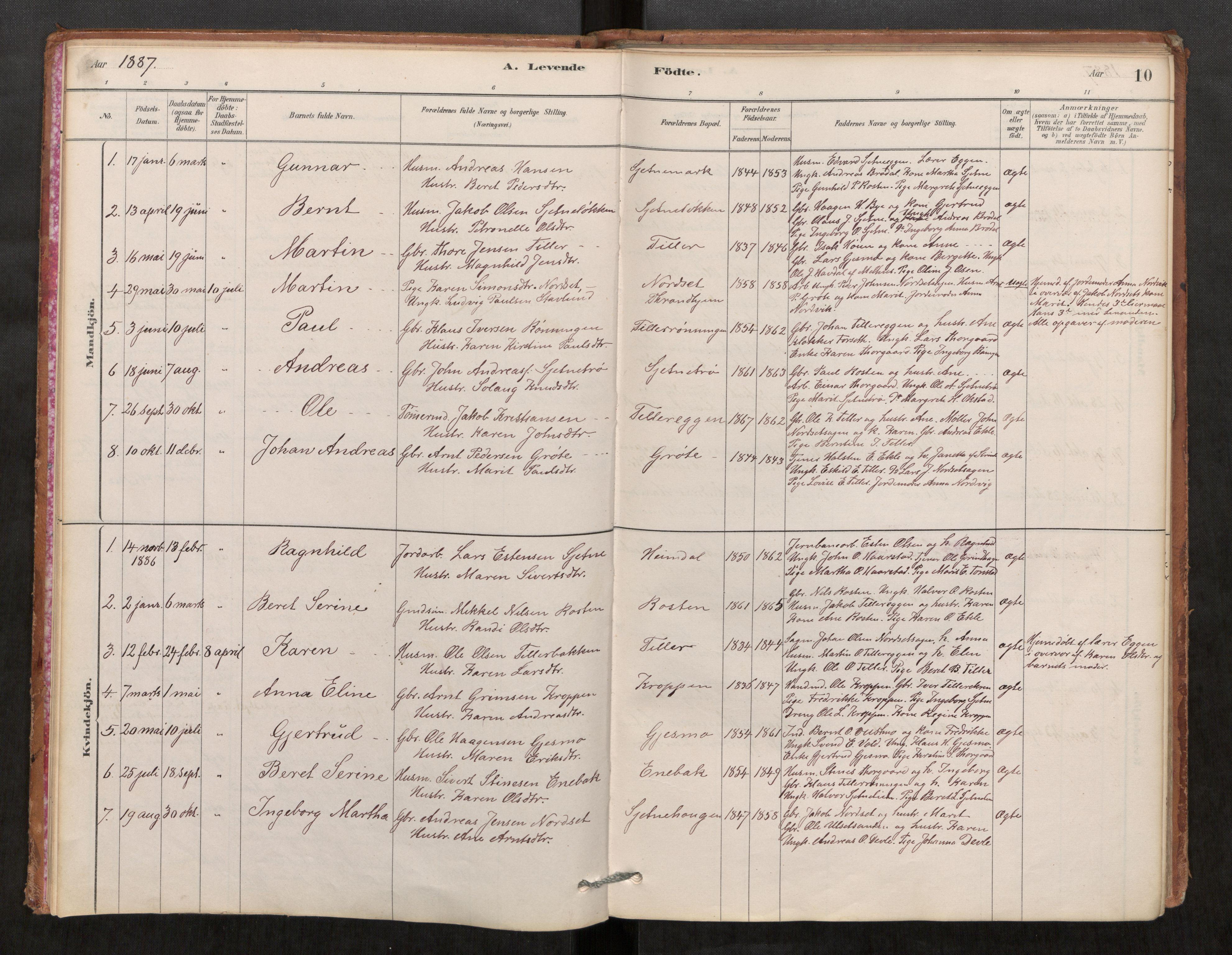 SAT, Klæbu sokneprestkontor, Parish register (official) no. 1, 1880-1900, p. 10