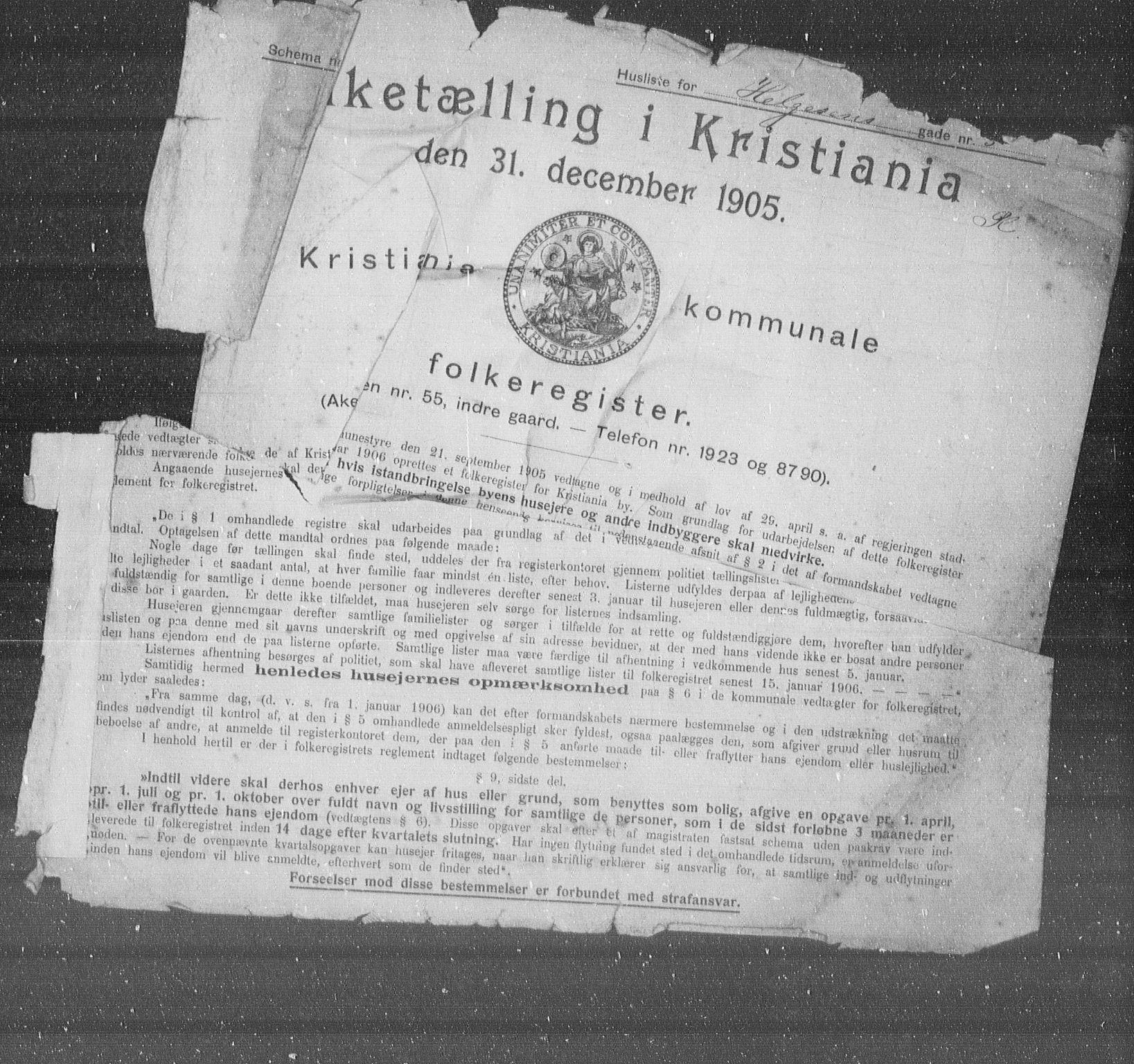 OBA, Municipal Census 1905 for Kristiania, 1905, p. 19462