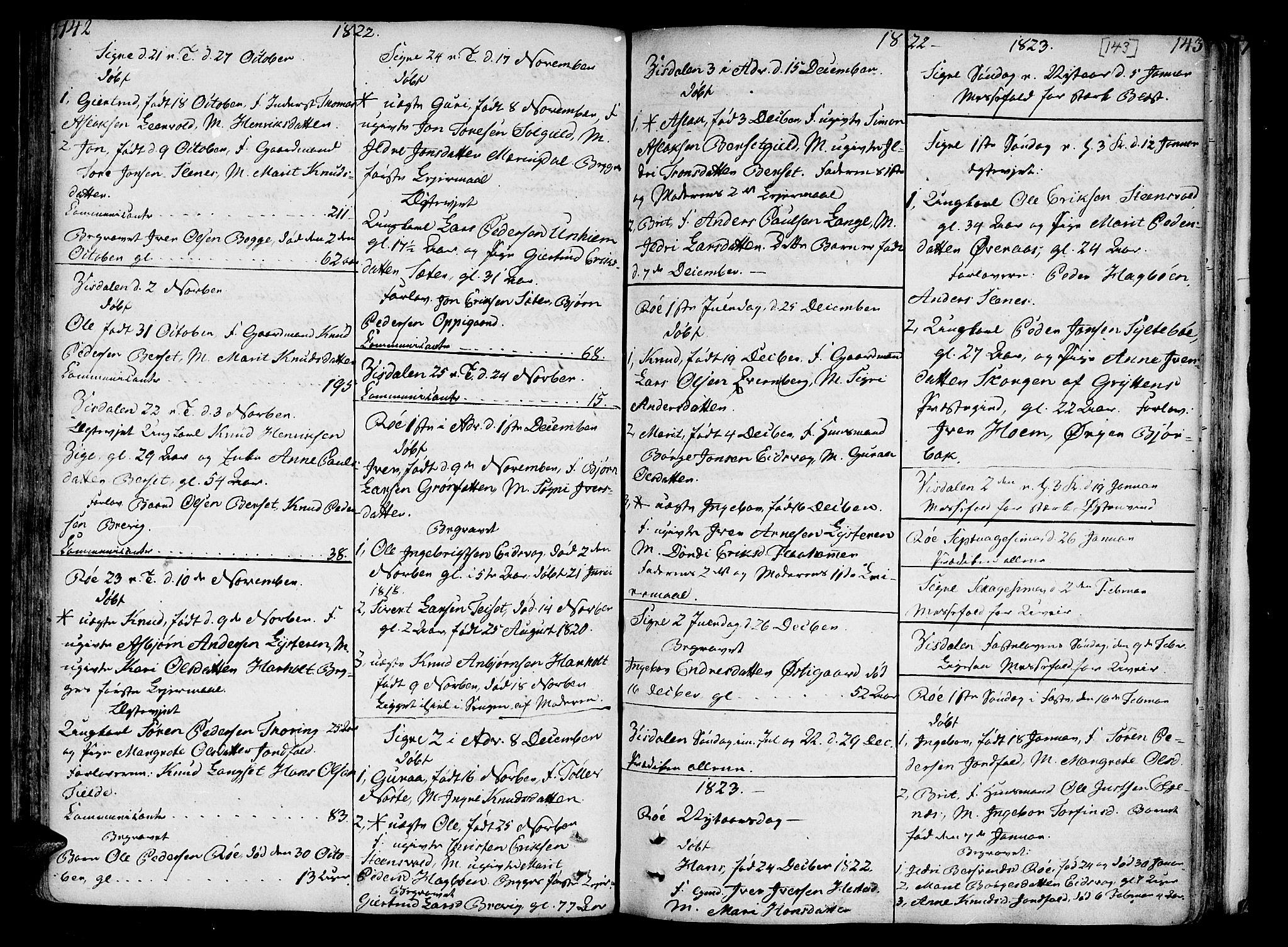 SAT, Ministerialprotokoller, klokkerbøker og fødselsregistre - Møre og Romsdal, 551/L0622: Parish register (official) no. 551A02, 1804-1845, p. 142-143