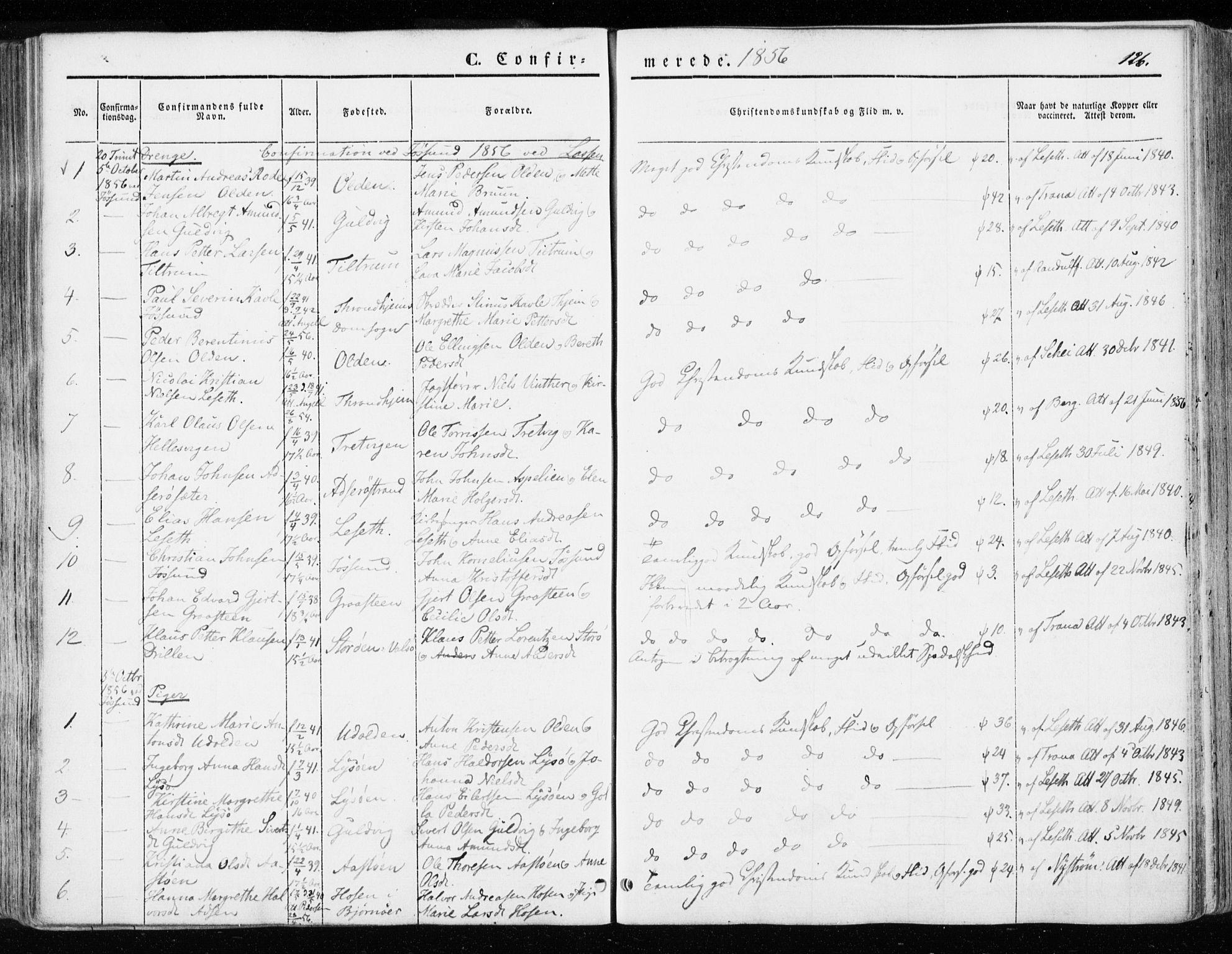 SAT, Ministerialprotokoller, klokkerbøker og fødselsregistre - Sør-Trøndelag, 655/L0677: Parish register (official) no. 655A06, 1847-1860, p. 126