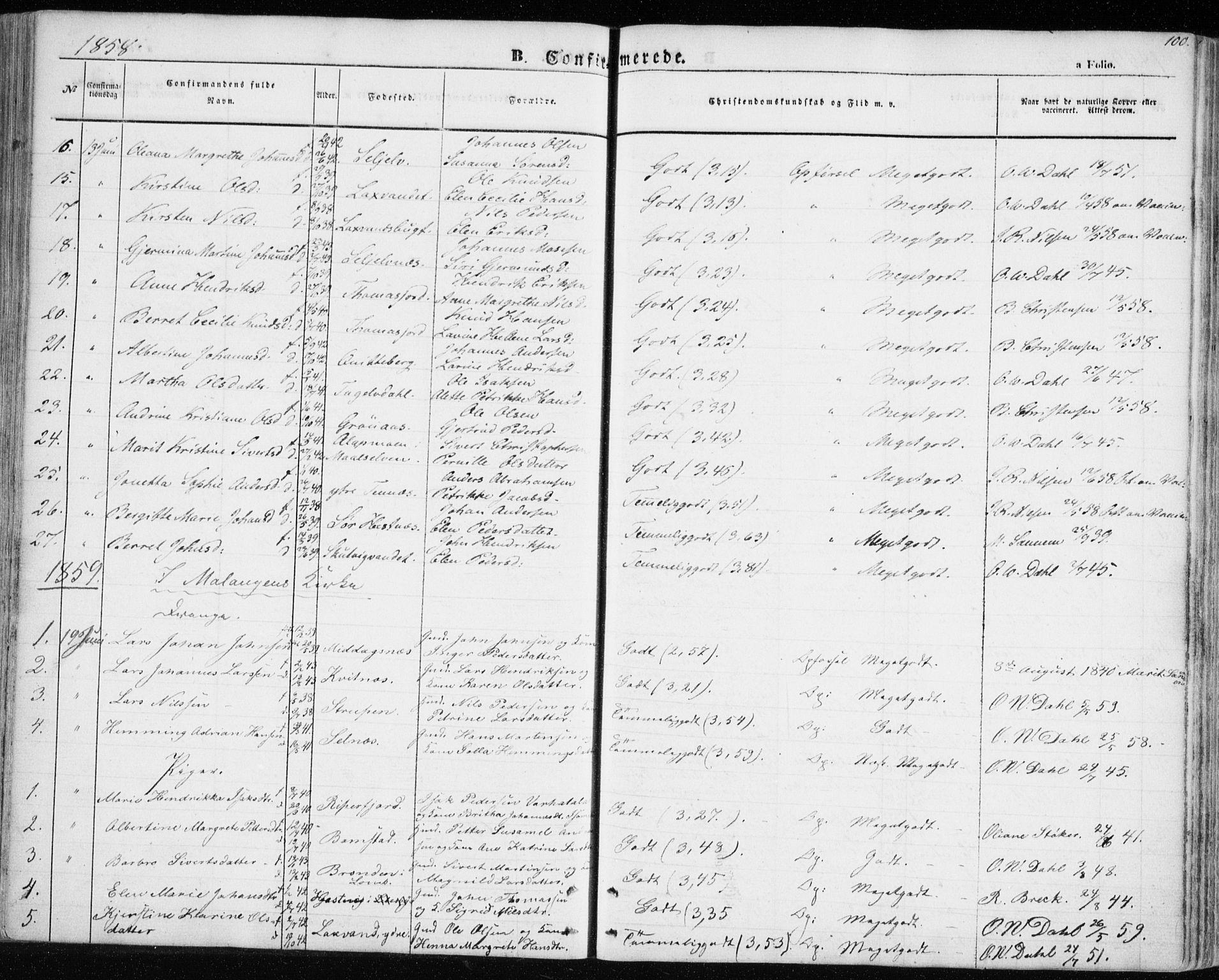 SATØ, Balsfjord sokneprestembete, Parish register (official) no. 3, 1856-1870, p. 100