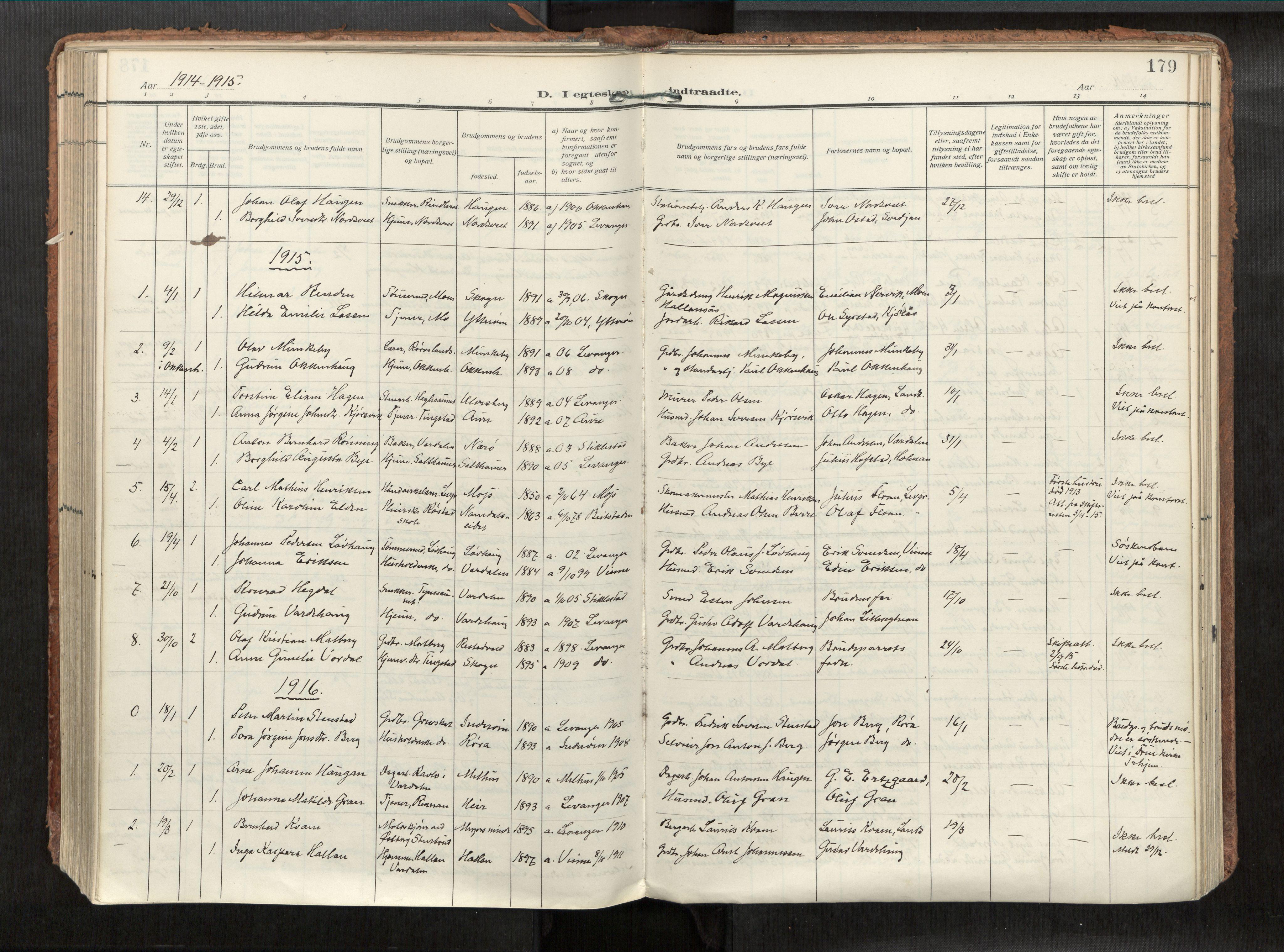 SAT, Levanger sokneprestkontor*, Parish register (official) no. 1, 1912-1935, p. 179