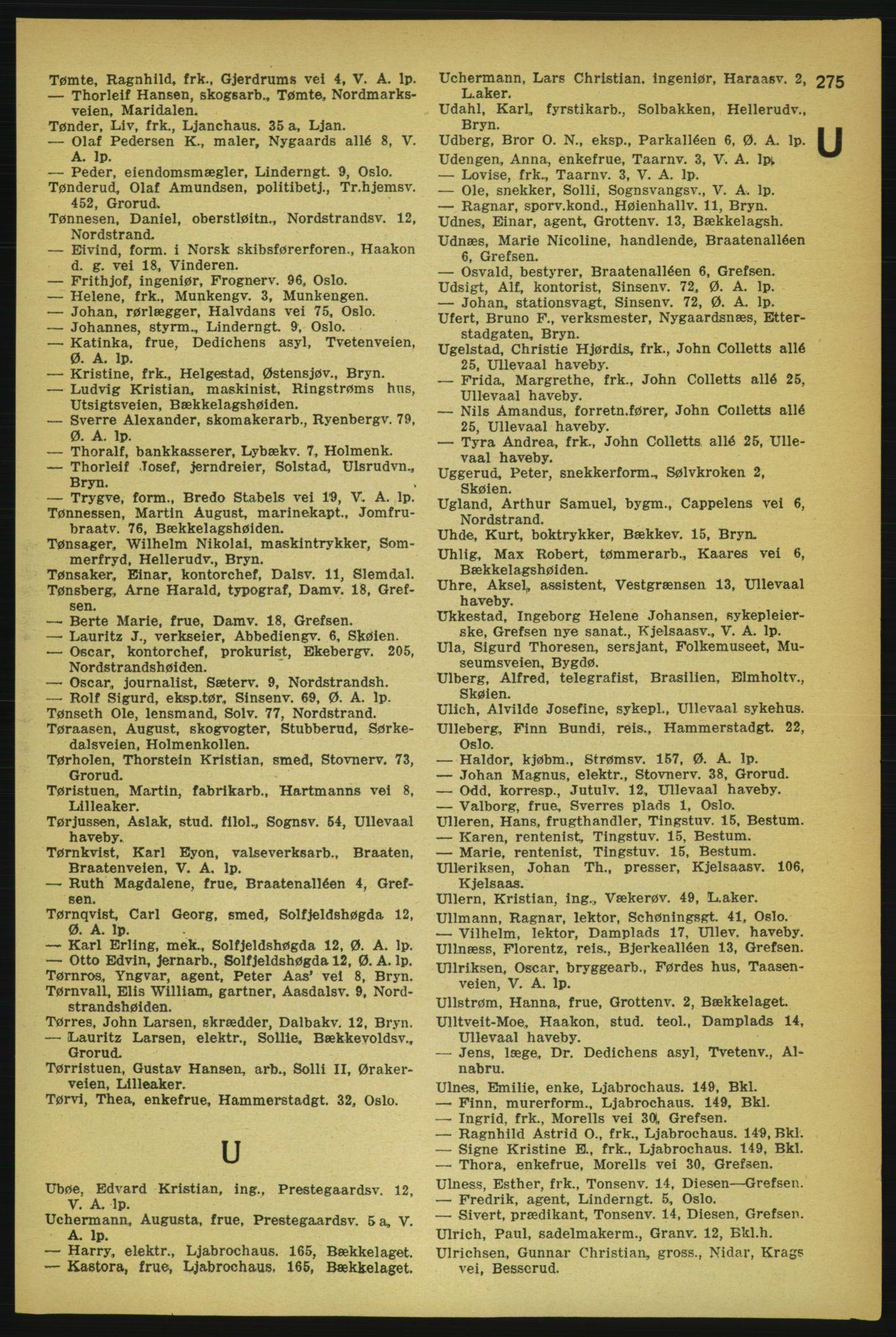 RA, Aker adressebok/adressekalender (publikasjon)*, 1929, p. 275