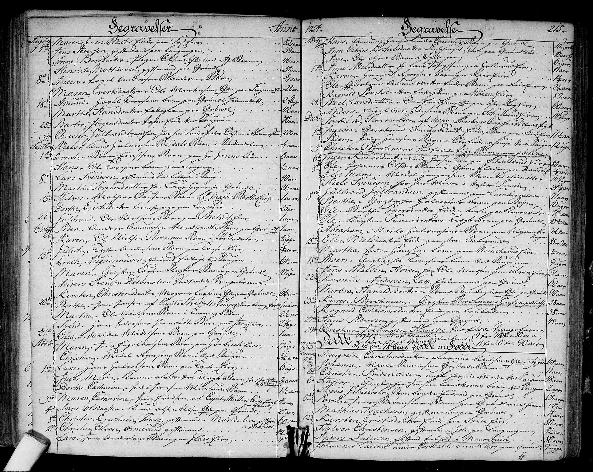 SAO, Aker prestekontor kirkebøker, F/L0008: Parish register (official) no. 8, 1749-1765, p. 215