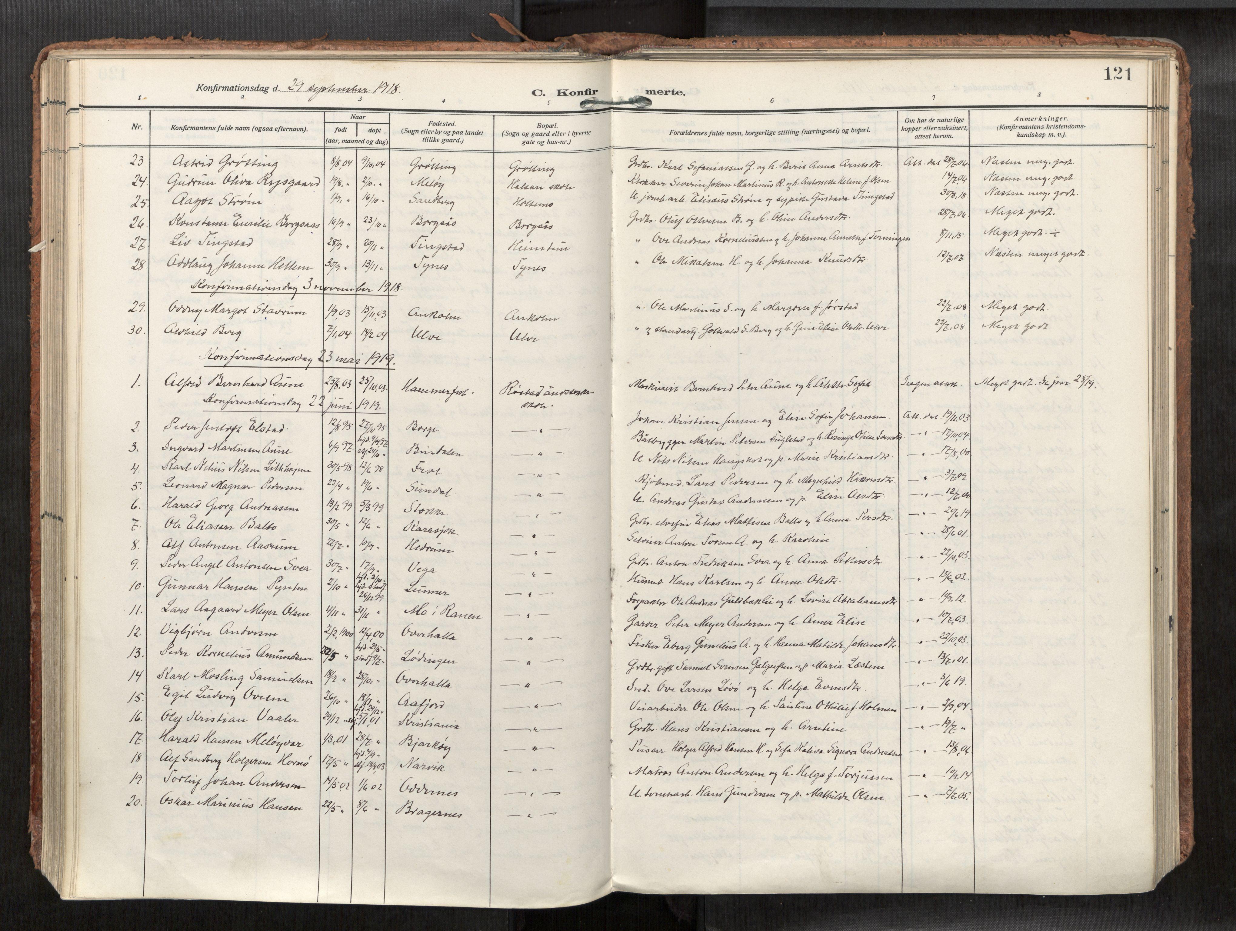 SAT, Levanger sokneprestkontor*, Parish register (official) no. 1, 1912-1935, p. 121