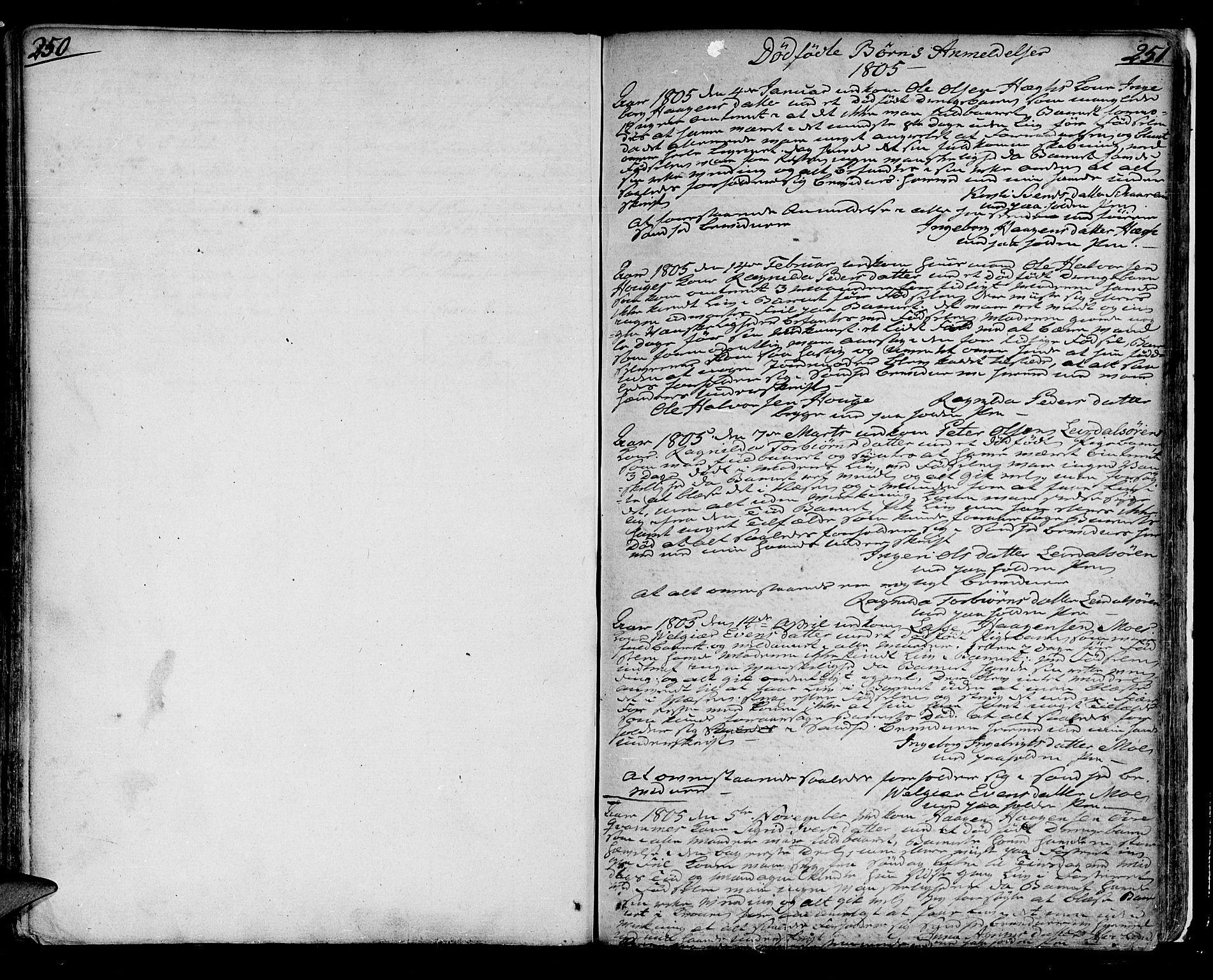 SAB, Lærdal sokneprestembete, Parish register (official) no. A 4, 1805-1821, p. 250-251