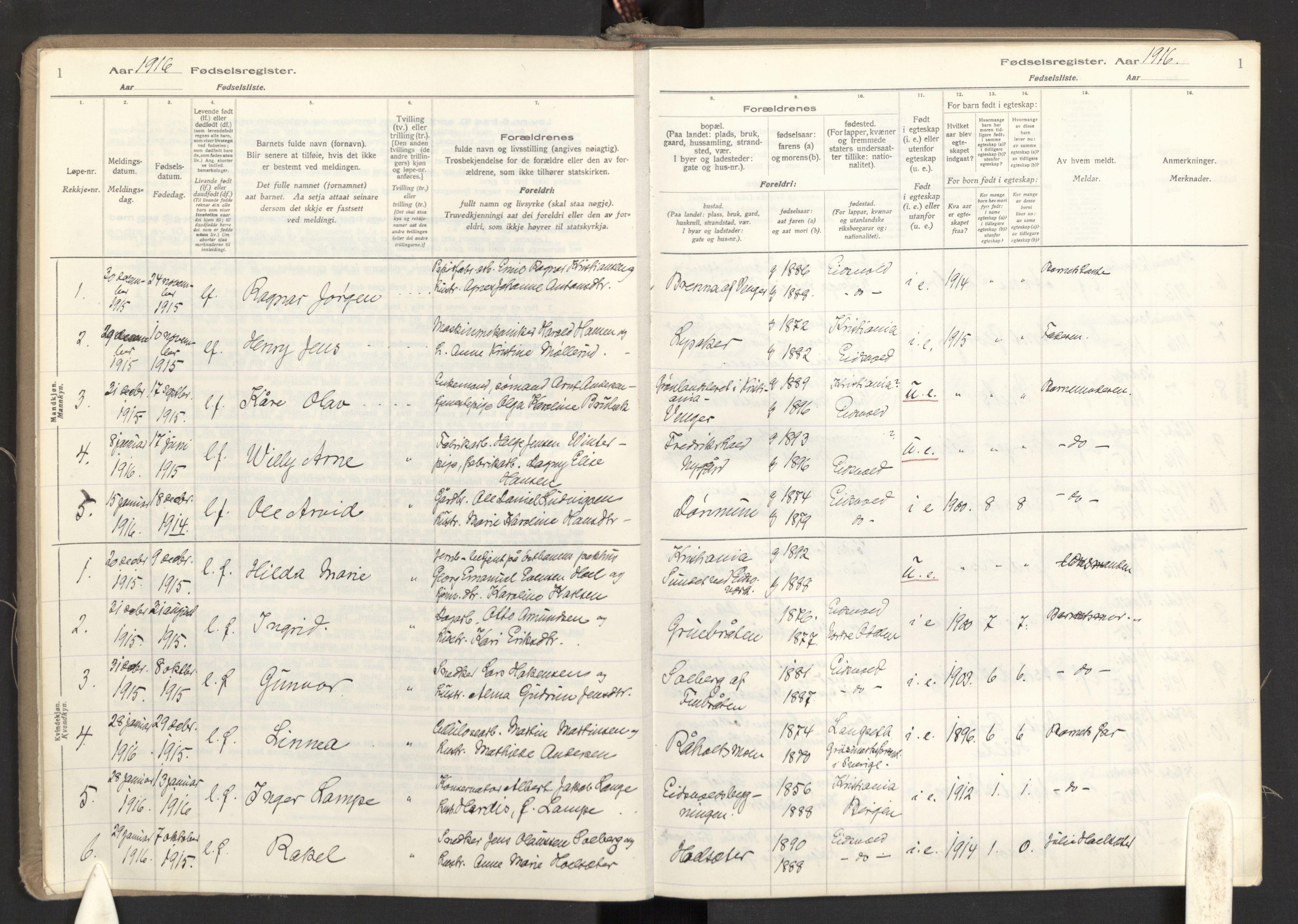 SAO, Eidsvoll prestekontor Kirkebøker, Birth register no. I 1, 1916-1924, p. 1