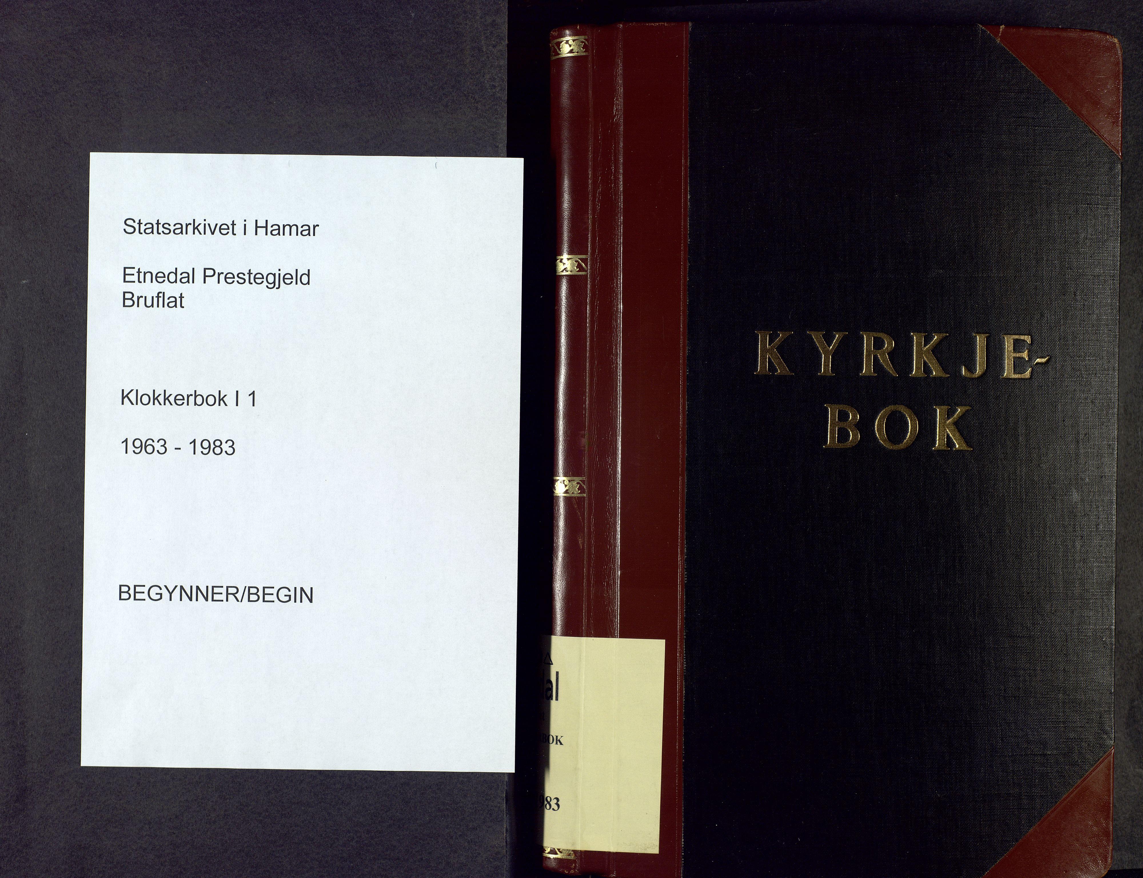 SAH, Etnedal prestekontor, H/Ha/Hab/Haba/L0001: Parish register (copy) no. I 1, 1963-1983