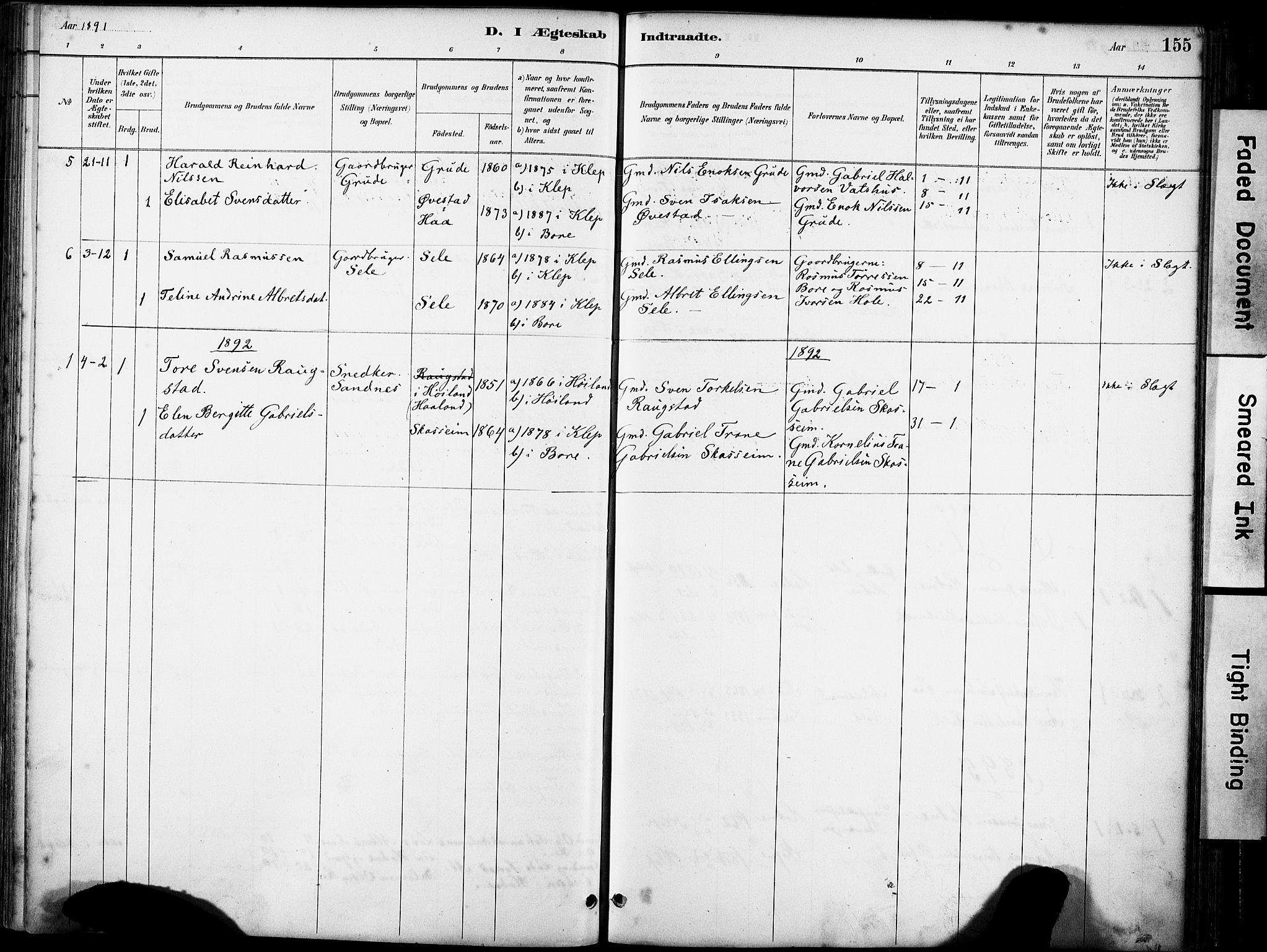 SAST, Klepp sokneprestkontor, 30BA/L0008: Parish register (official) no. A 9, 1886-1919, p. 155