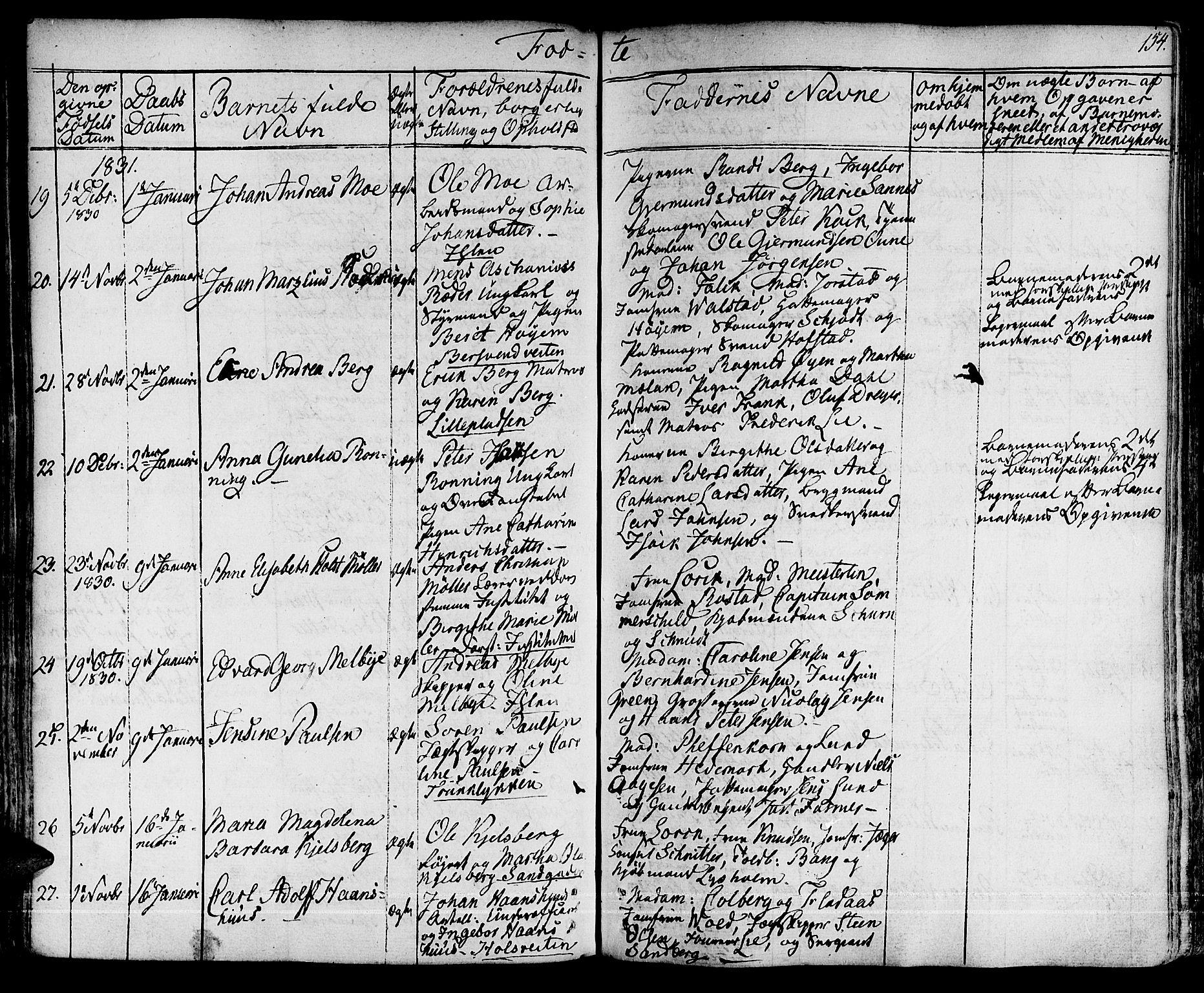 SAT, Ministerialprotokoller, klokkerbøker og fødselsregistre - Sør-Trøndelag, 601/L0045: Parish register (official) no. 601A13, 1821-1831, p. 154