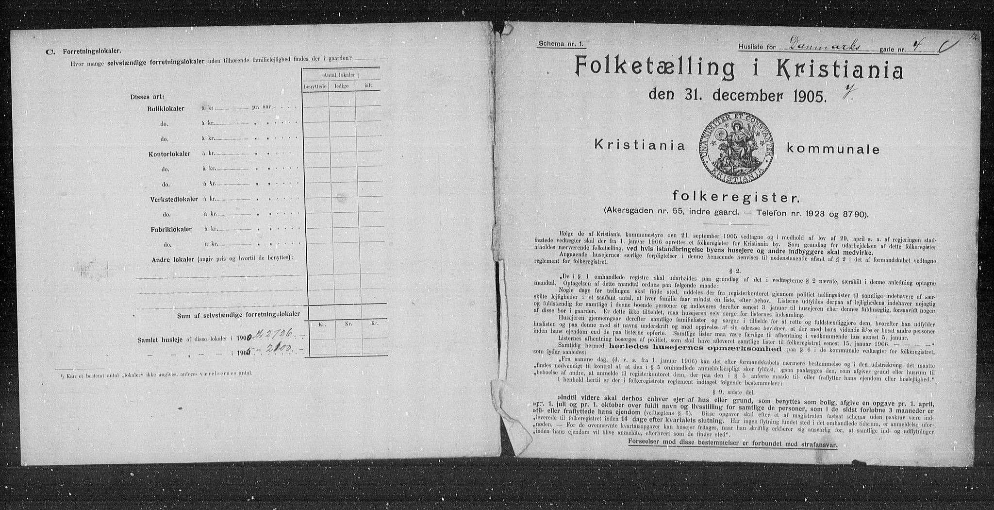 OBA, Municipal Census 1905 for Kristiania, 1905, p. 7573