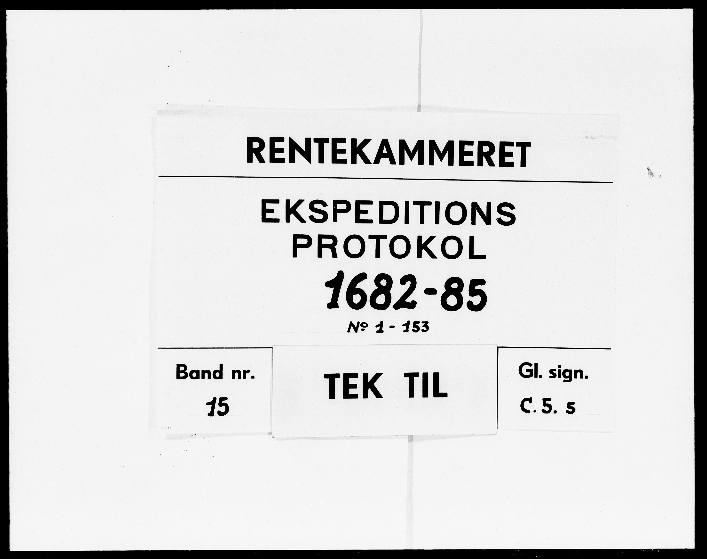 DRA, Rentekammeret Skatkammeret, Danske Sekretariat (1660-1679) / Rentekammeret Danske Afdeling, Kammerkancelliet (1679-1771), -/2212-05: Ekspeditionsprotokol, 1682-1685