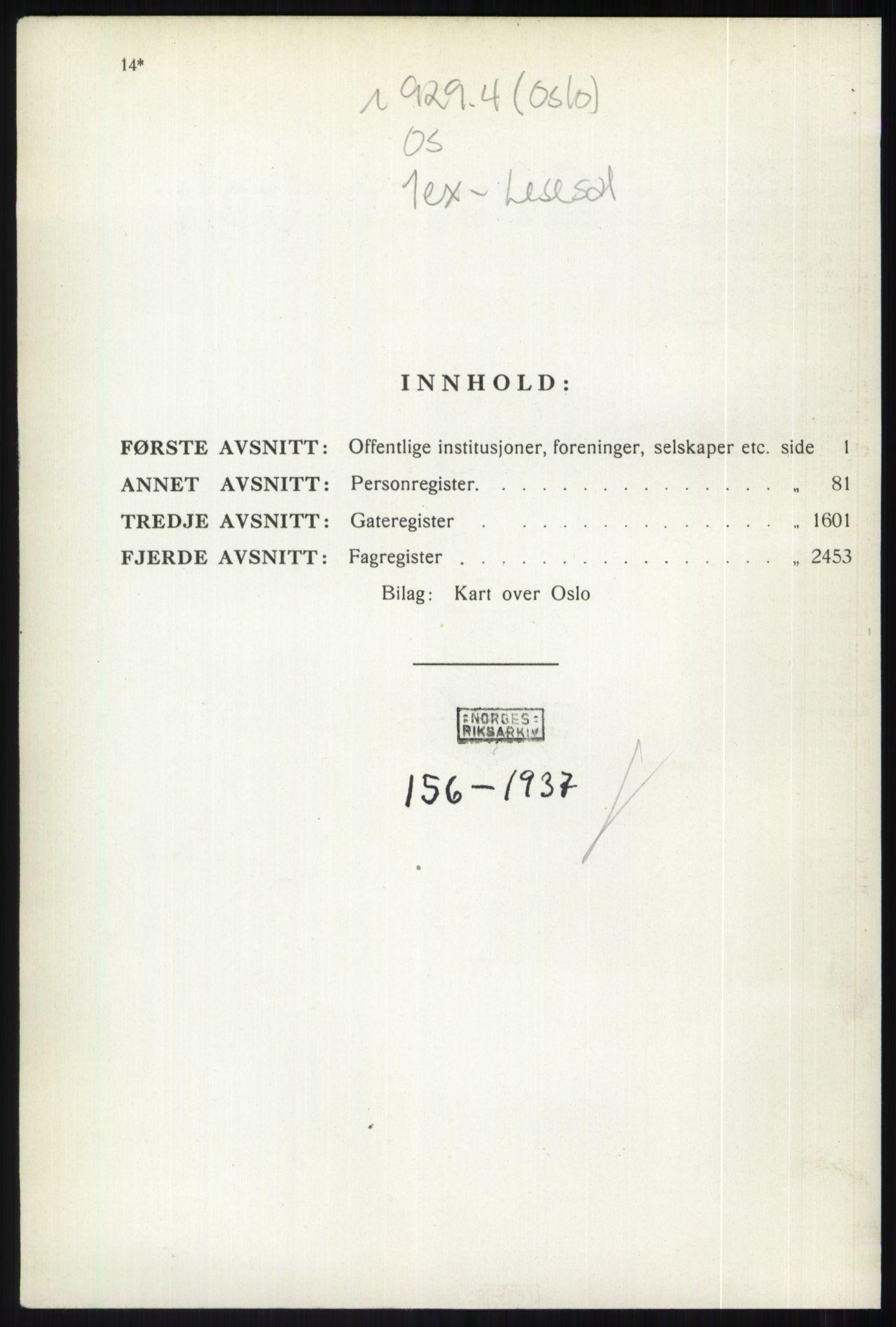 PUBL, Kristiania/Oslo adressebok, 1937