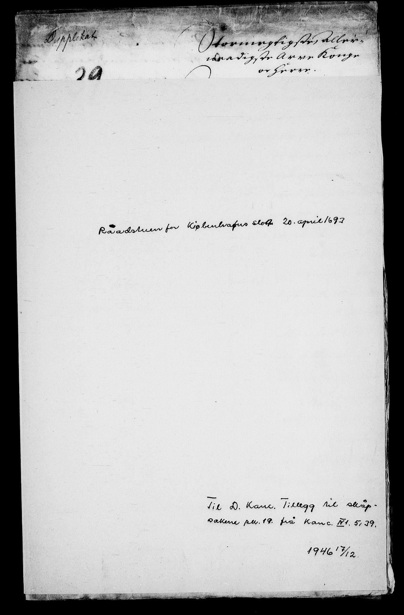 RA, Danske Kanselli, Skapsaker, G/L0019: Tillegg til skapsakene, 1616-1753, p. 272