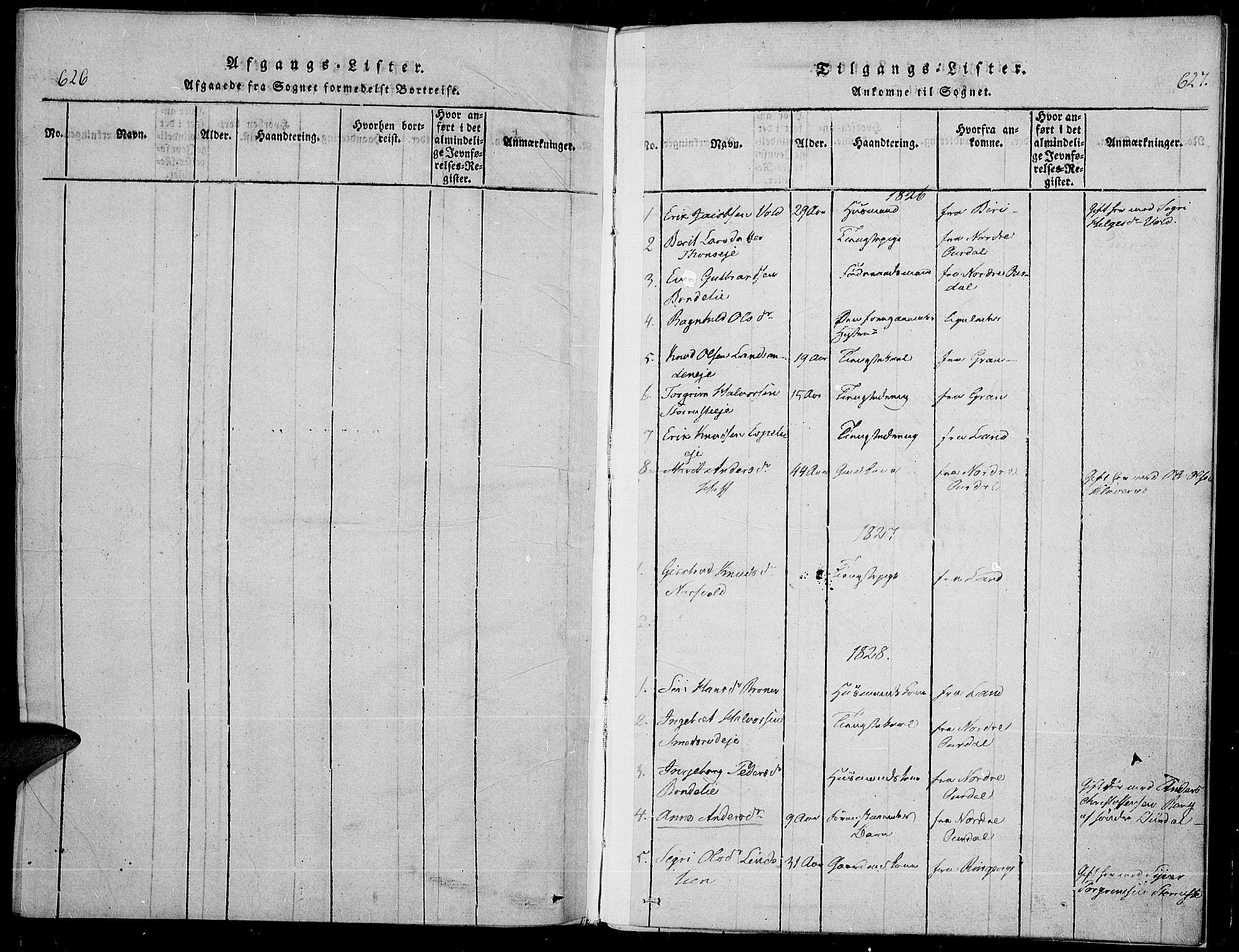 SAH, Sør-Aurdal prestekontor, Parish register (official) no. 3, 1825-1840, p. 626-627