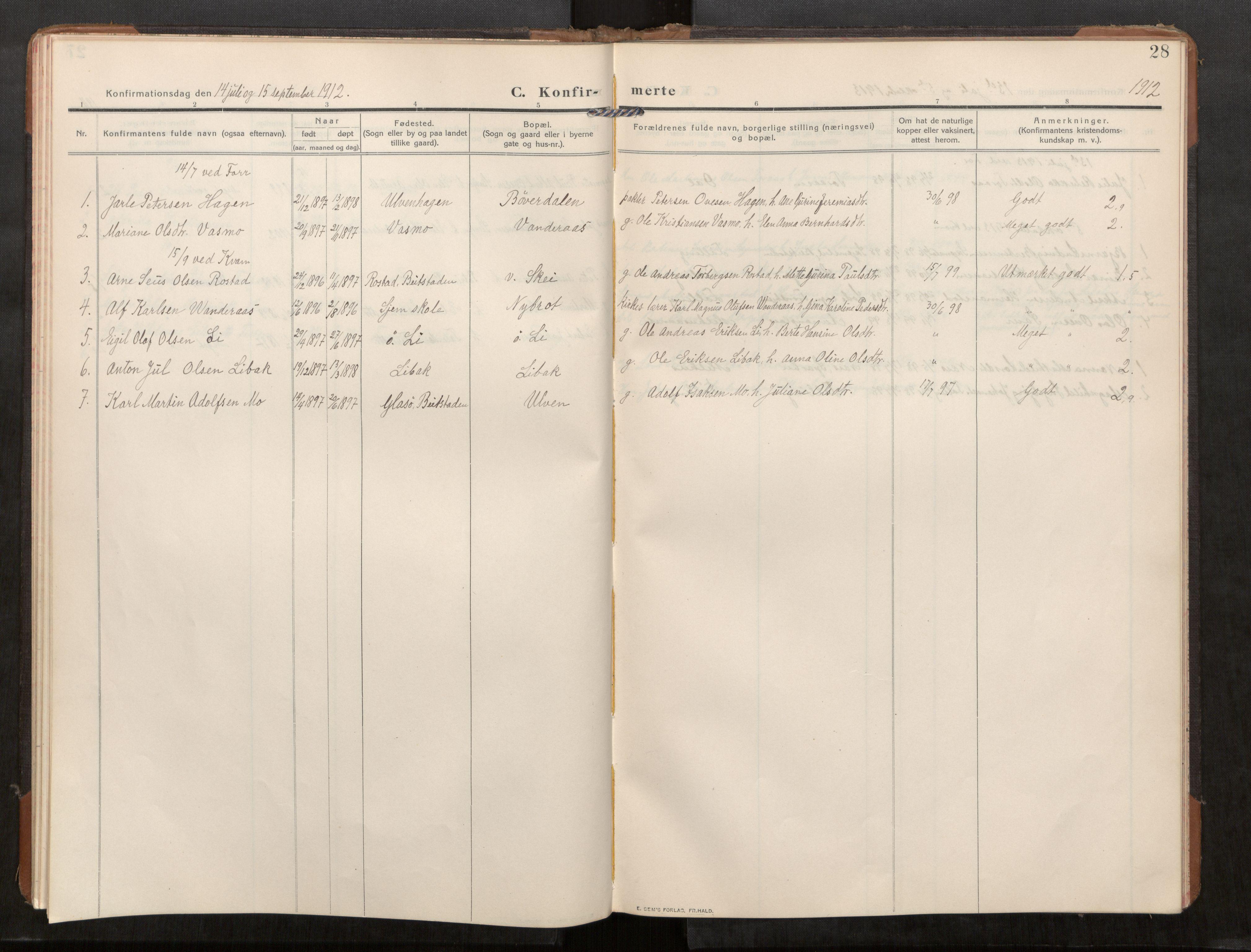 SAT, Stod sokneprestkontor, I/I1/I1a/L0003: Parish register (official) no. 3, 1909-1934, p. 28