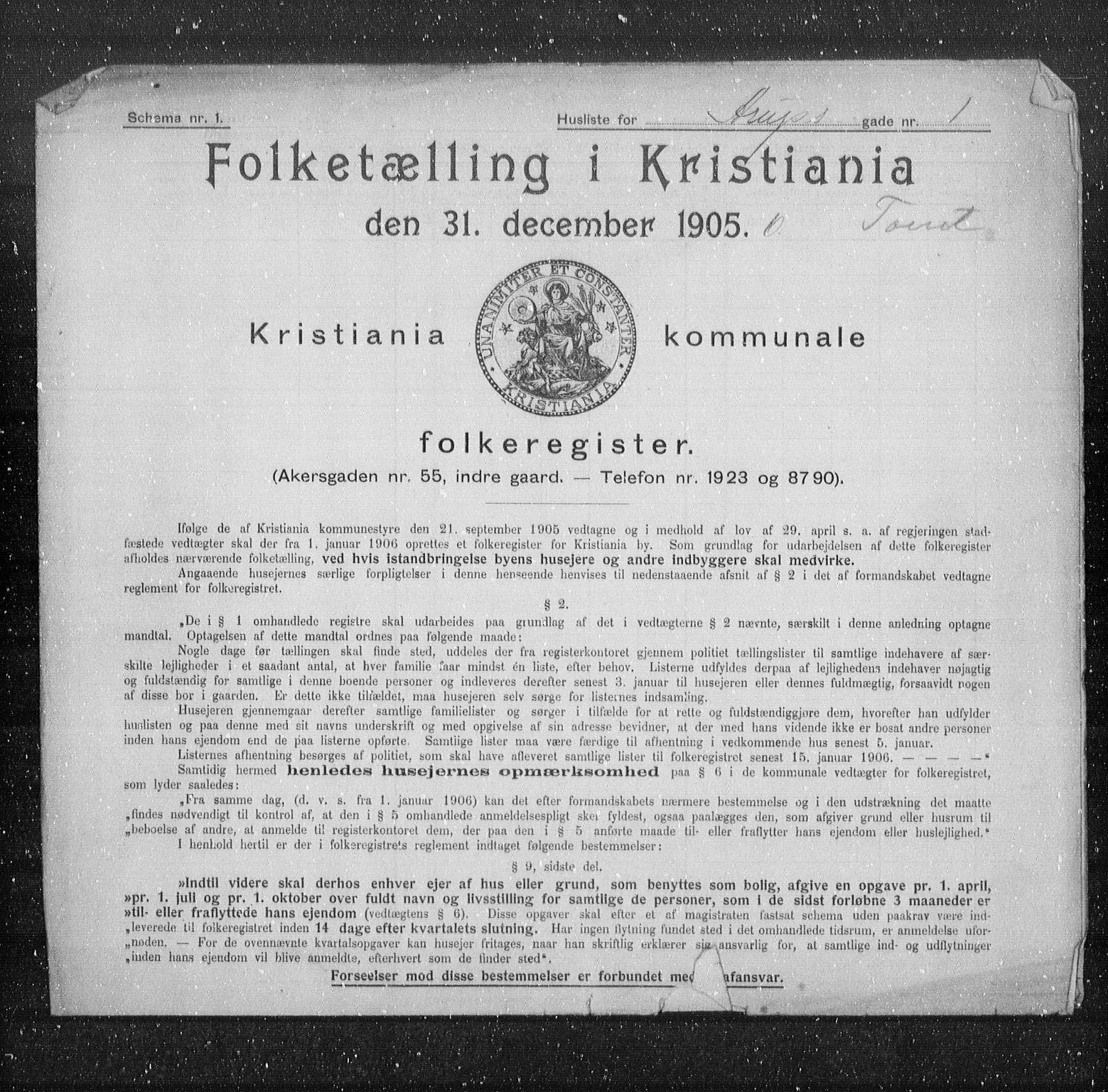 OBA, Municipal Census 1905 for Kristiania, 1905, p. 1106