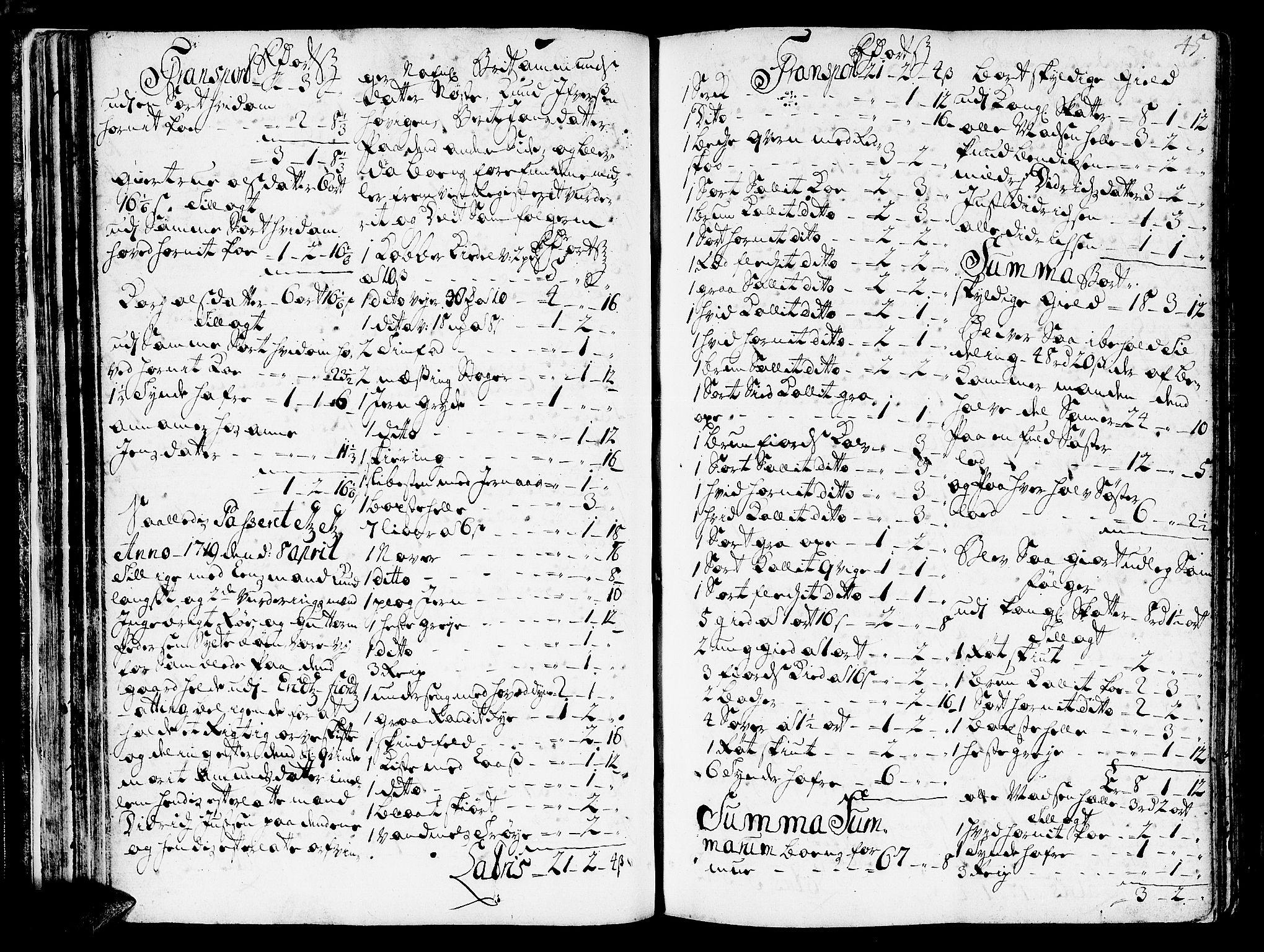 SAT, Romsdal sorenskriveri, 3/3A/L0006: Skifteprotokoll, 1718-1730, p. 44b-45a