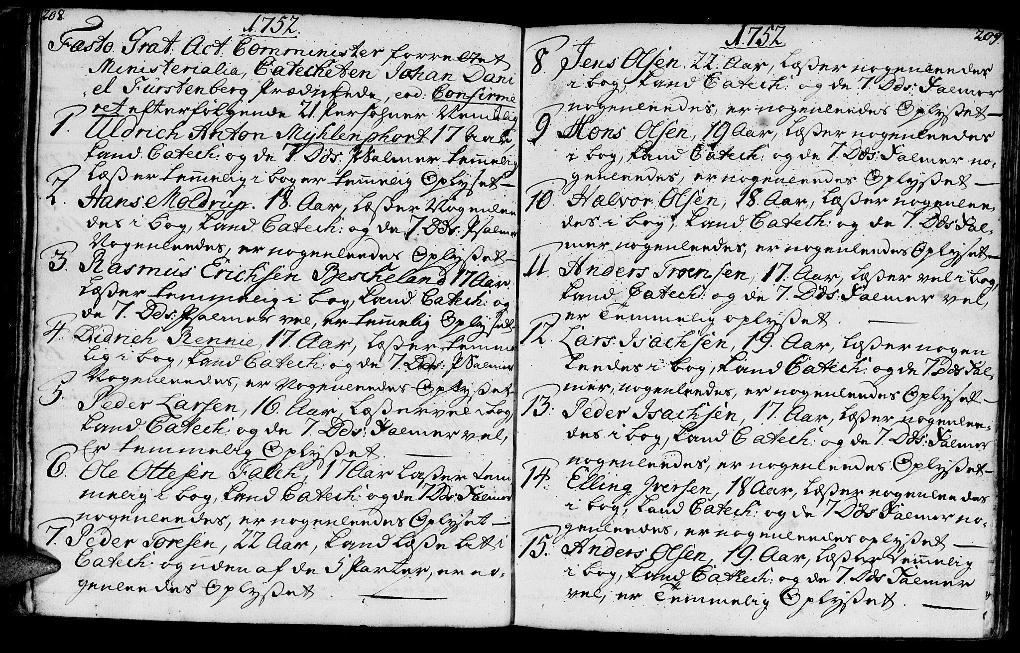 SAT, Ministerialprotokoller, klokkerbøker og fødselsregistre - Møre og Romsdal, 572/L0839: Parish register (official) no. 572A02, 1739-1754, p. 208-209