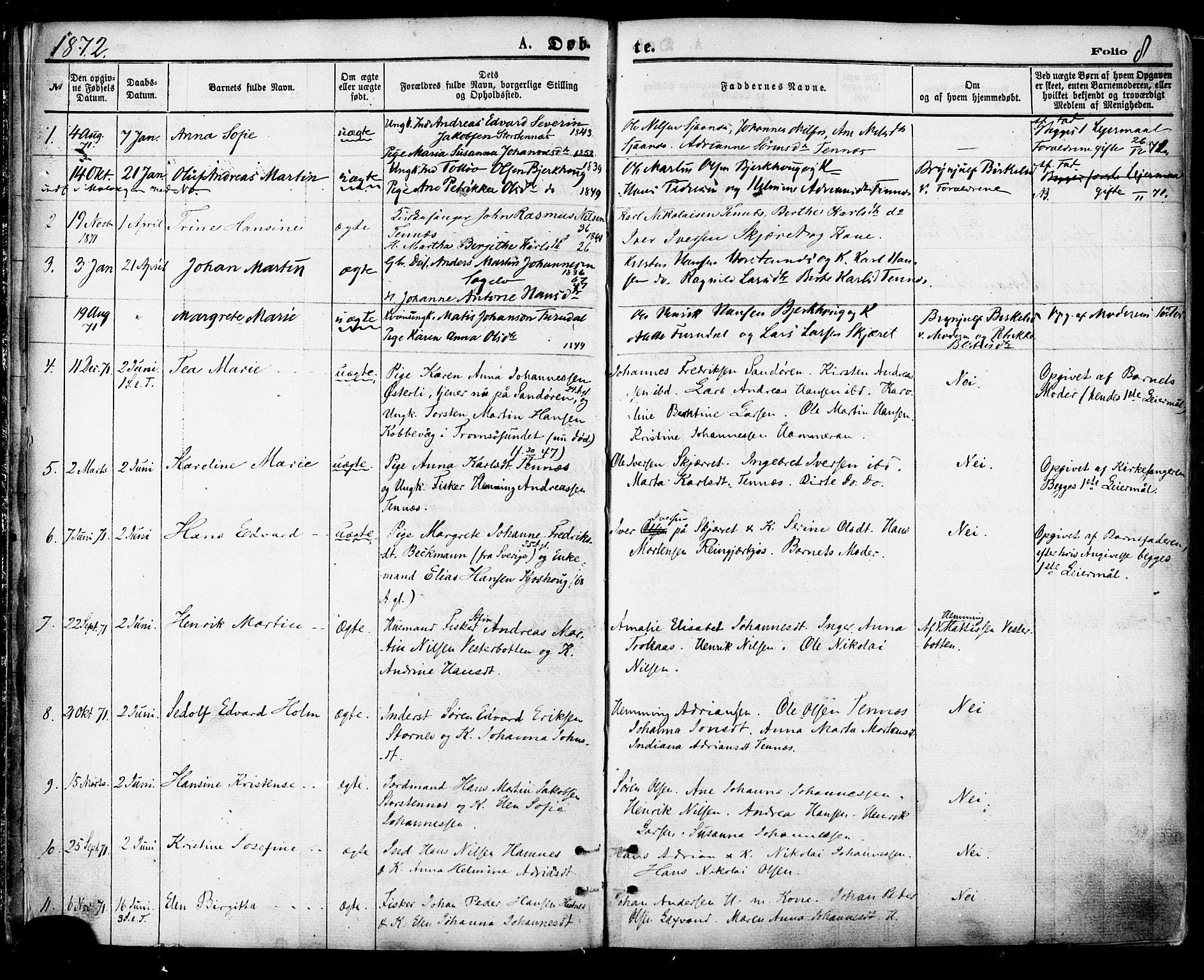 SATØ, Balsfjord sokneprestembete, Parish register (official) no. 4, 1871-1883, p. 8