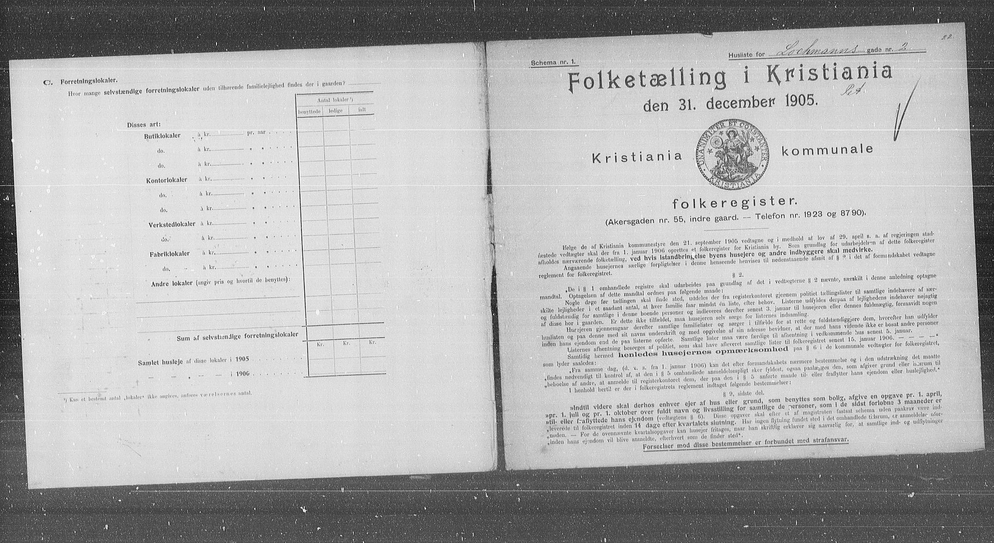 OBA, Municipal Census 1905 for Kristiania, 1905, p. 30607