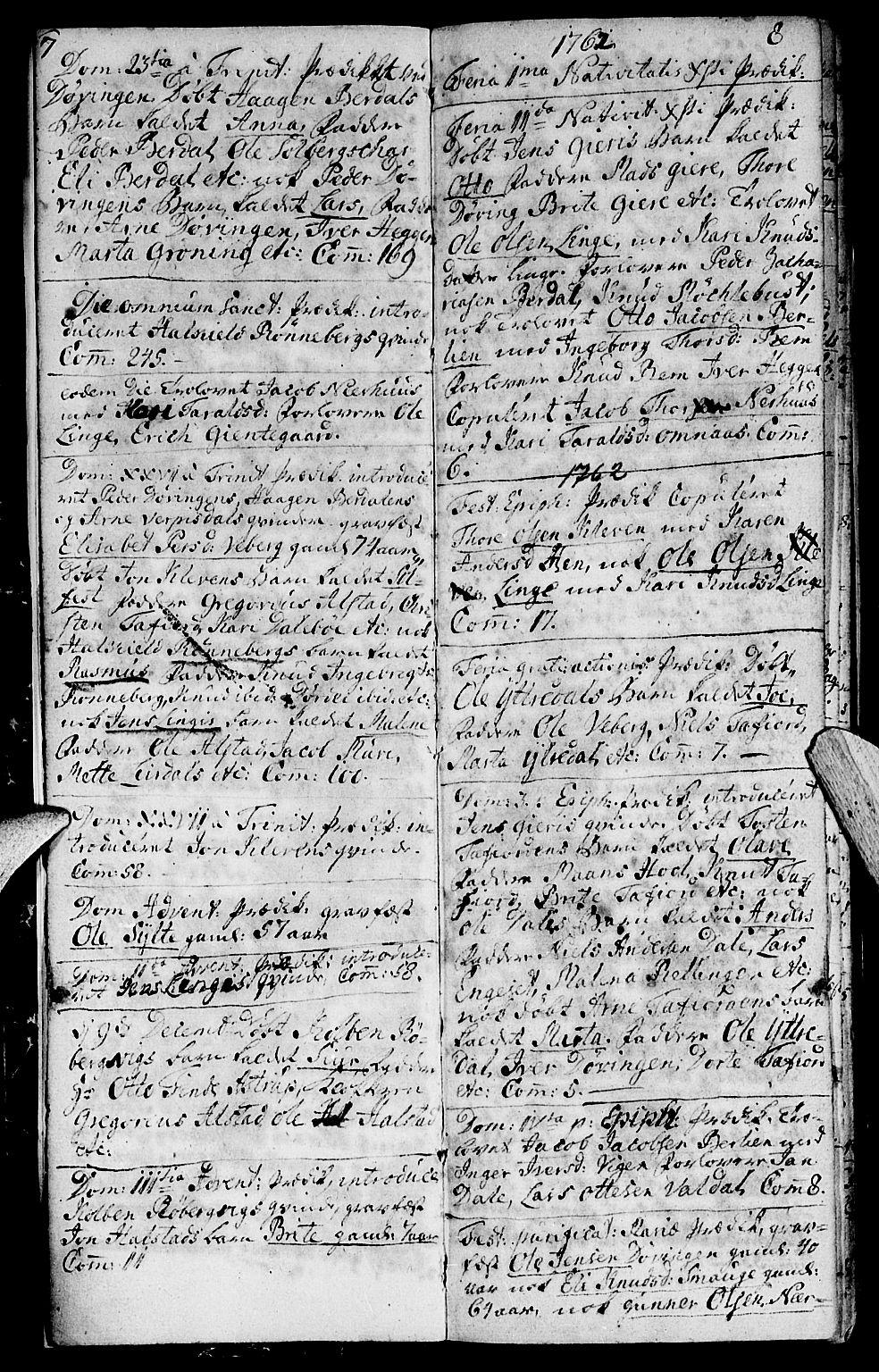 SAT, Ministerialprotokoller, klokkerbøker og fødselsregistre - Møre og Romsdal, 519/L0243: Parish register (official) no. 519A02, 1760-1770, p. 7-8