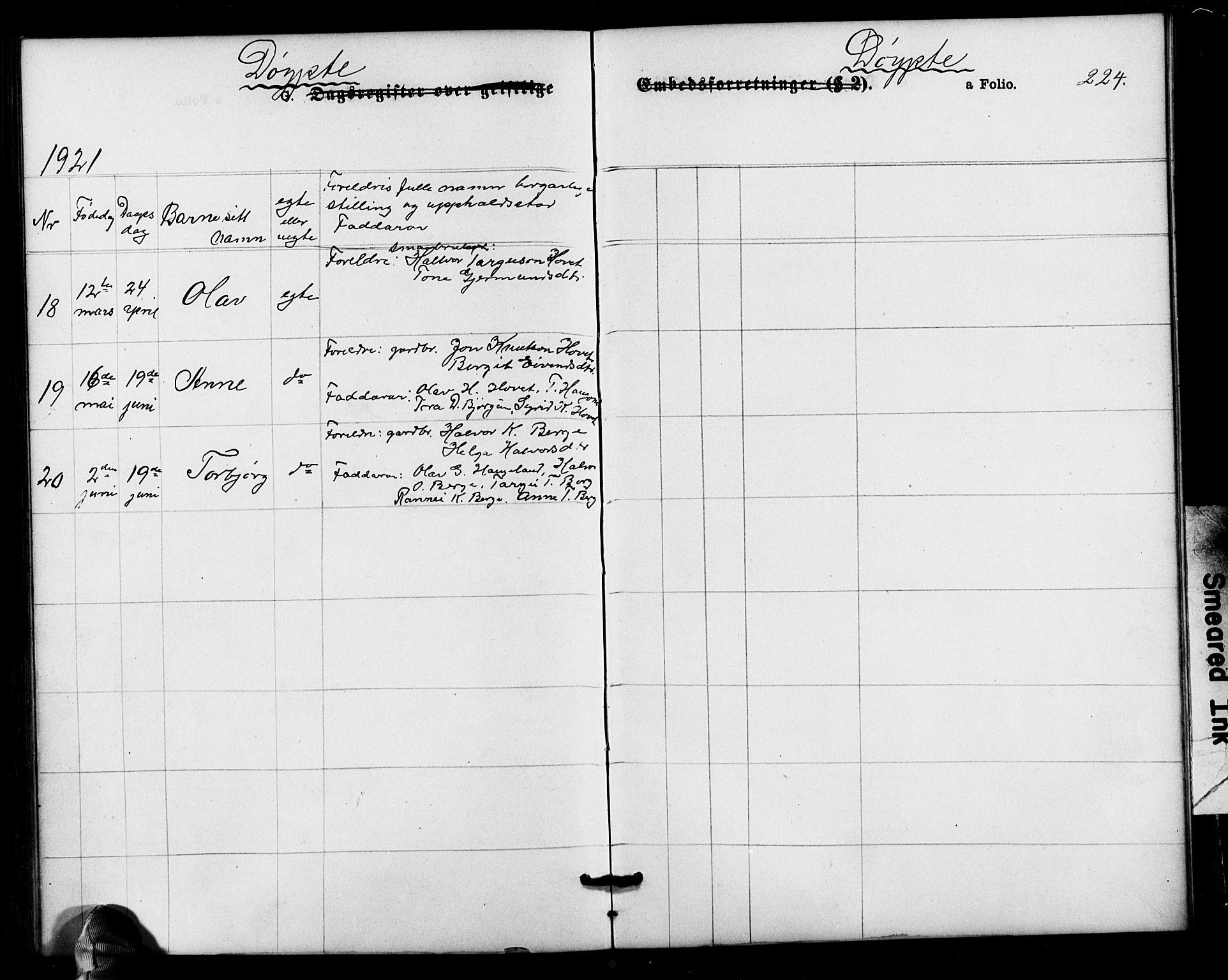 SAK, Valle sokneprestkontor, F/Fb/Fbb/L0002: Parish register (copy) no. B 2, 1875-1921, p. 224