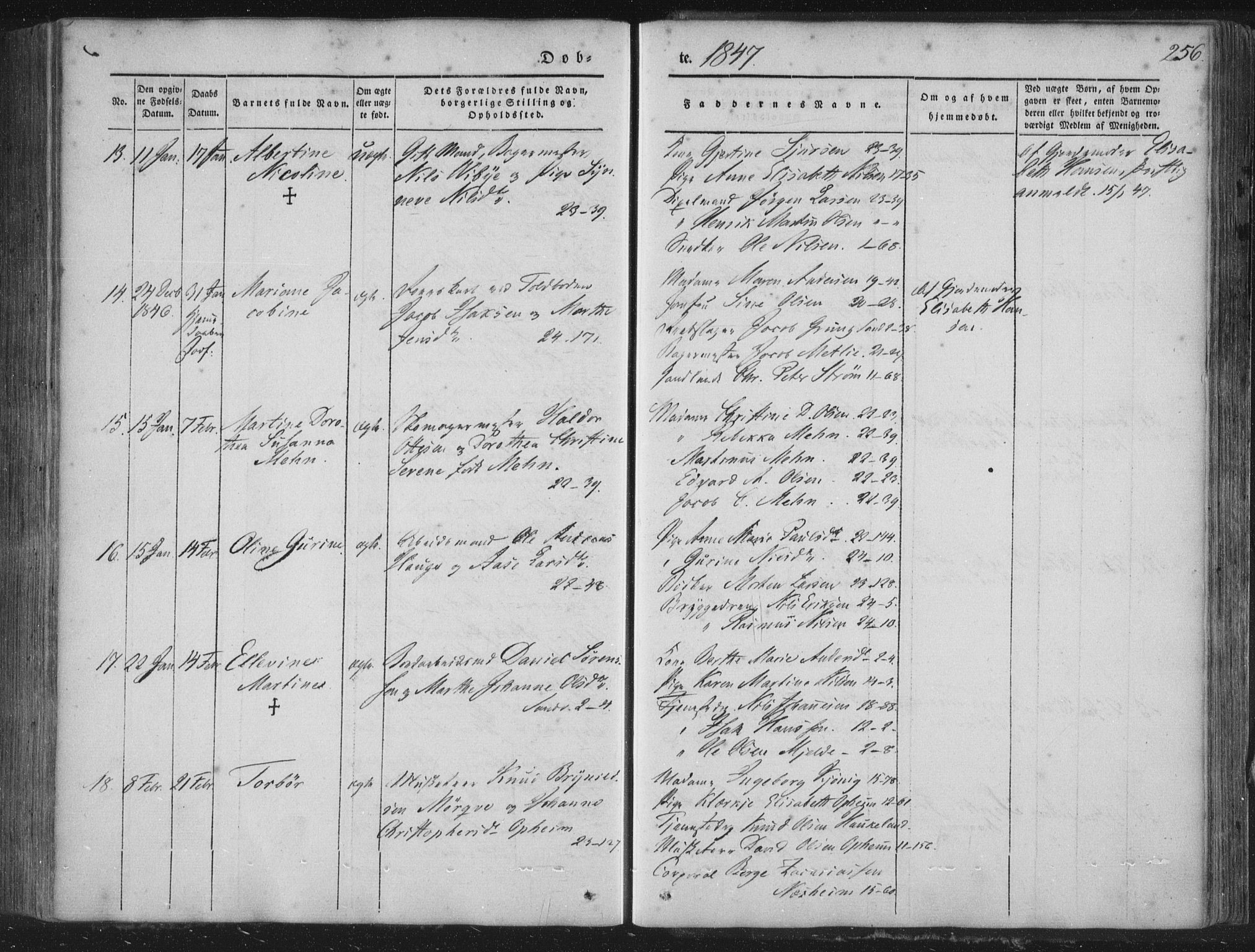 SAB, Korskirken Sokneprestembete, H/Haa/L0016: Parish register (official) no. B 2, 1841-1851, p. 256