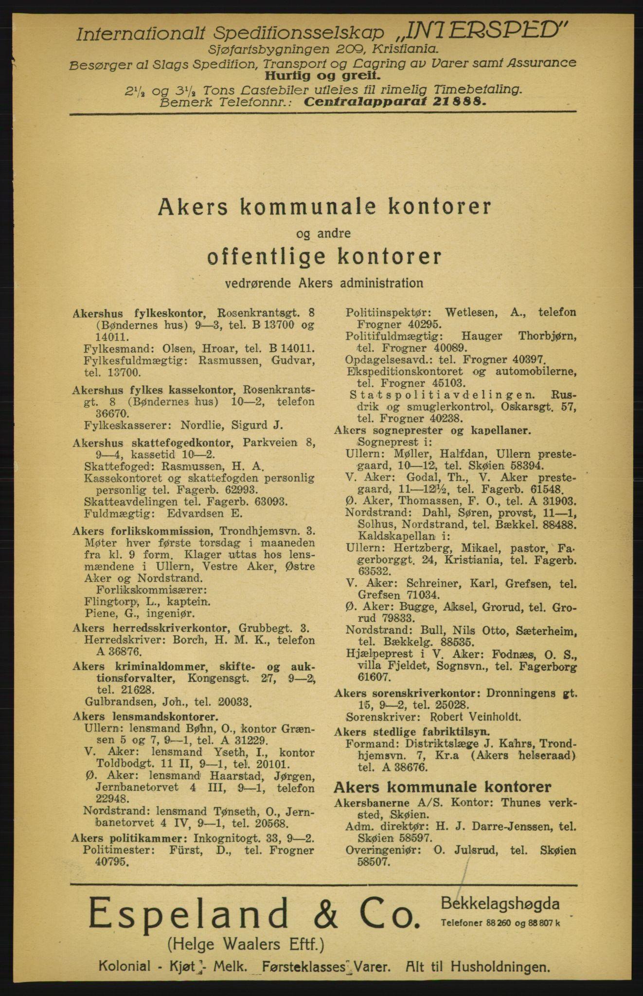 RA, Aker adressebok/adressekalender (publikasjon)*, 1924-1925, p. 9