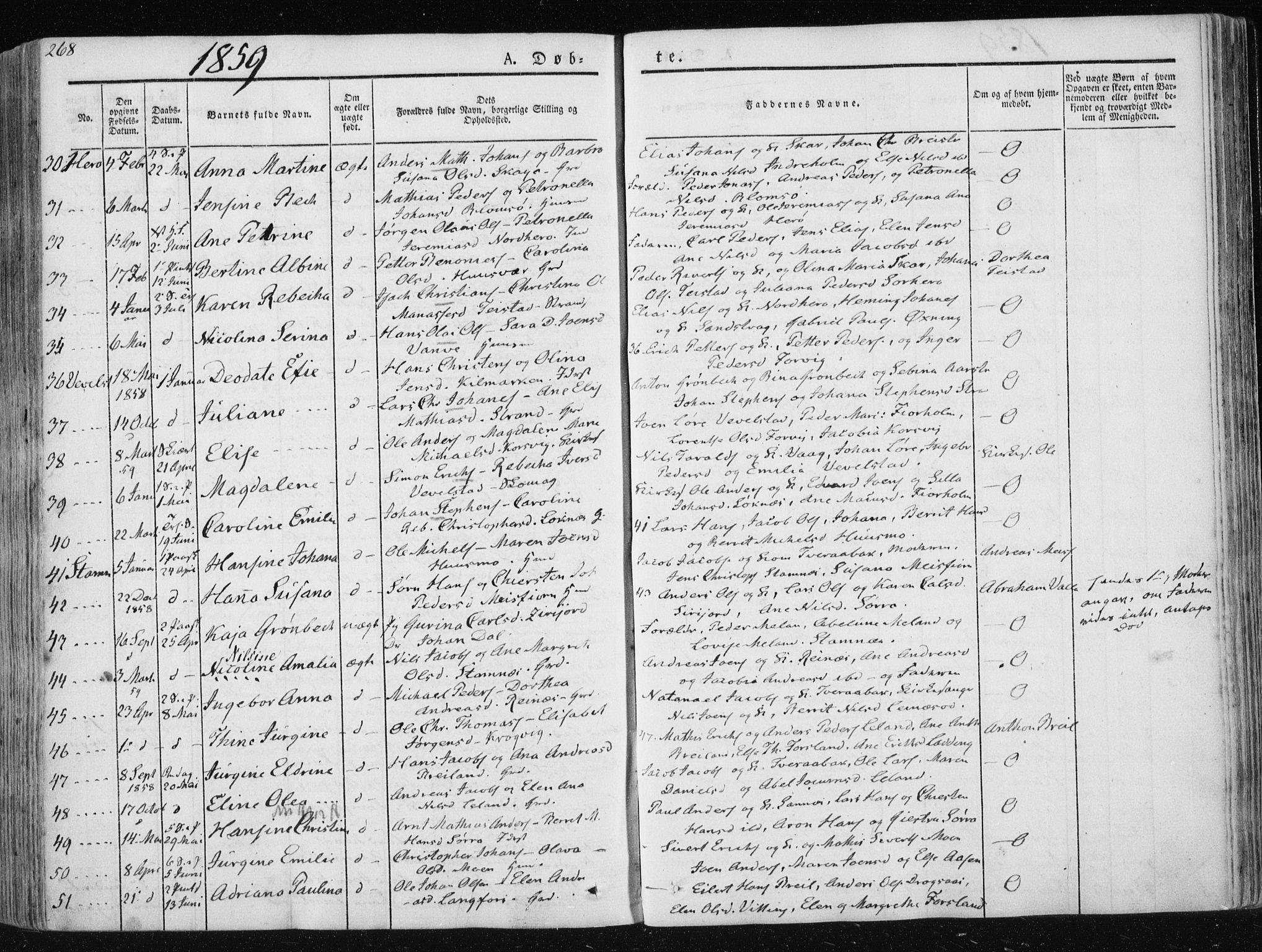 SAT, Ministerialprotokoller, klokkerbøker og fødselsregistre - Nordland, 830/L0446: Parish register (official) no. 830A10, 1831-1865, p. 268